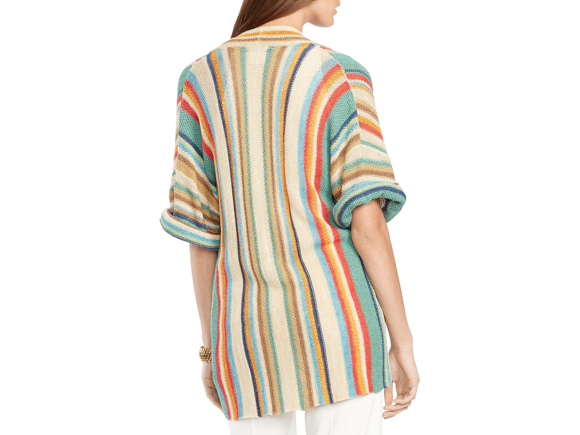 Ralph lauren Lauren Striped Kimono Cardigan | Lyst