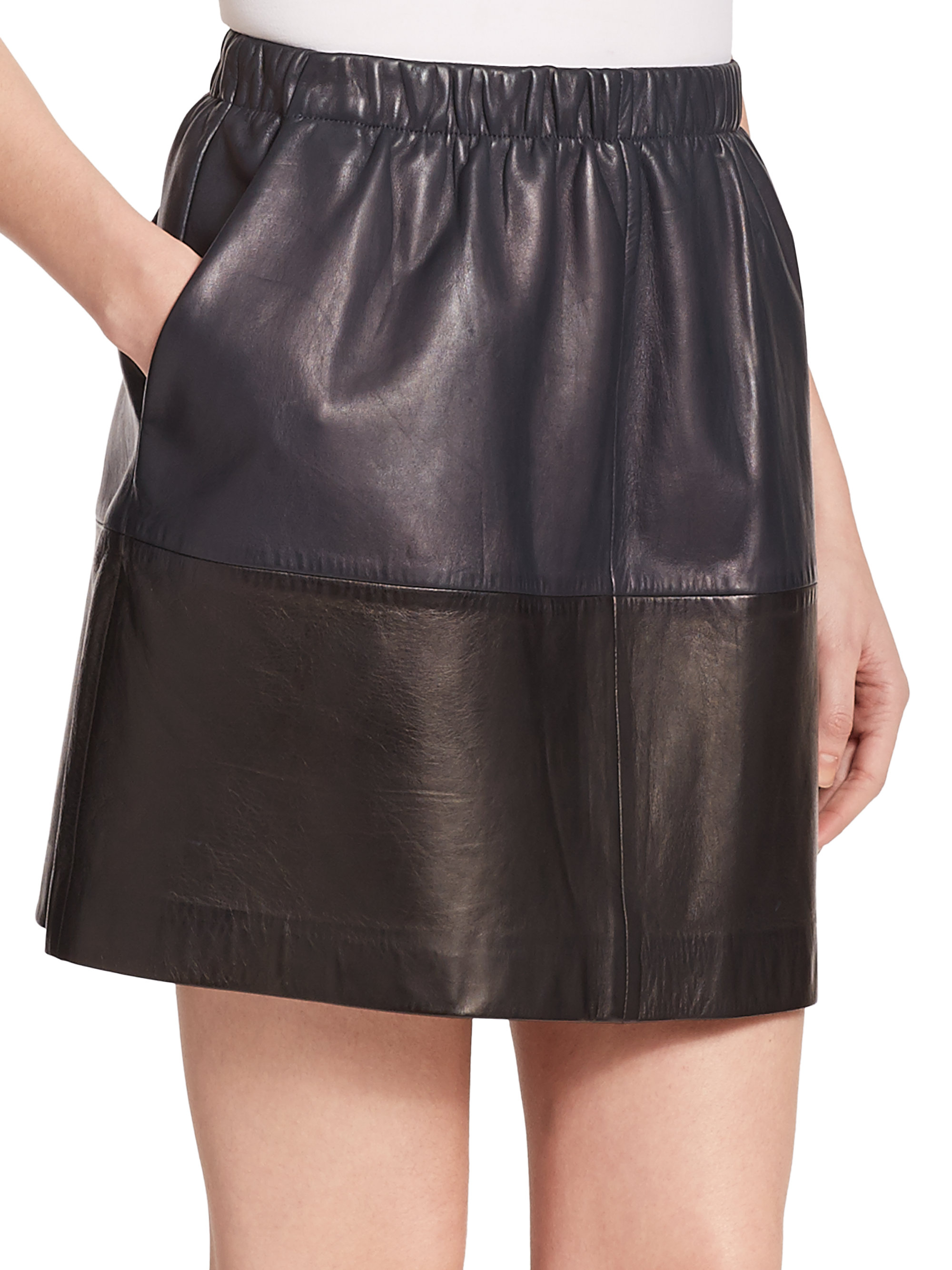 vince colorblock leather skirt in black lyst