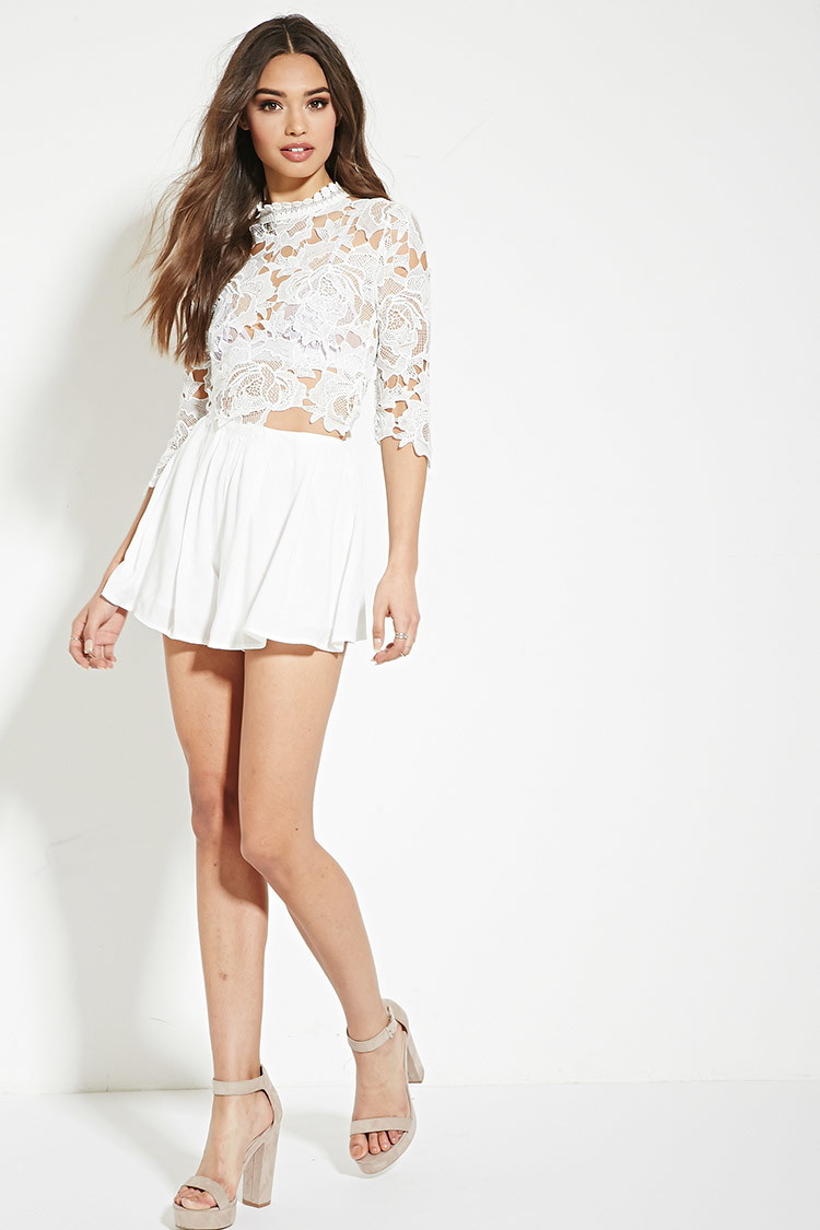 cbd8487426a Lyst - Forever 21 Lovecat Floral Lace Romper in White