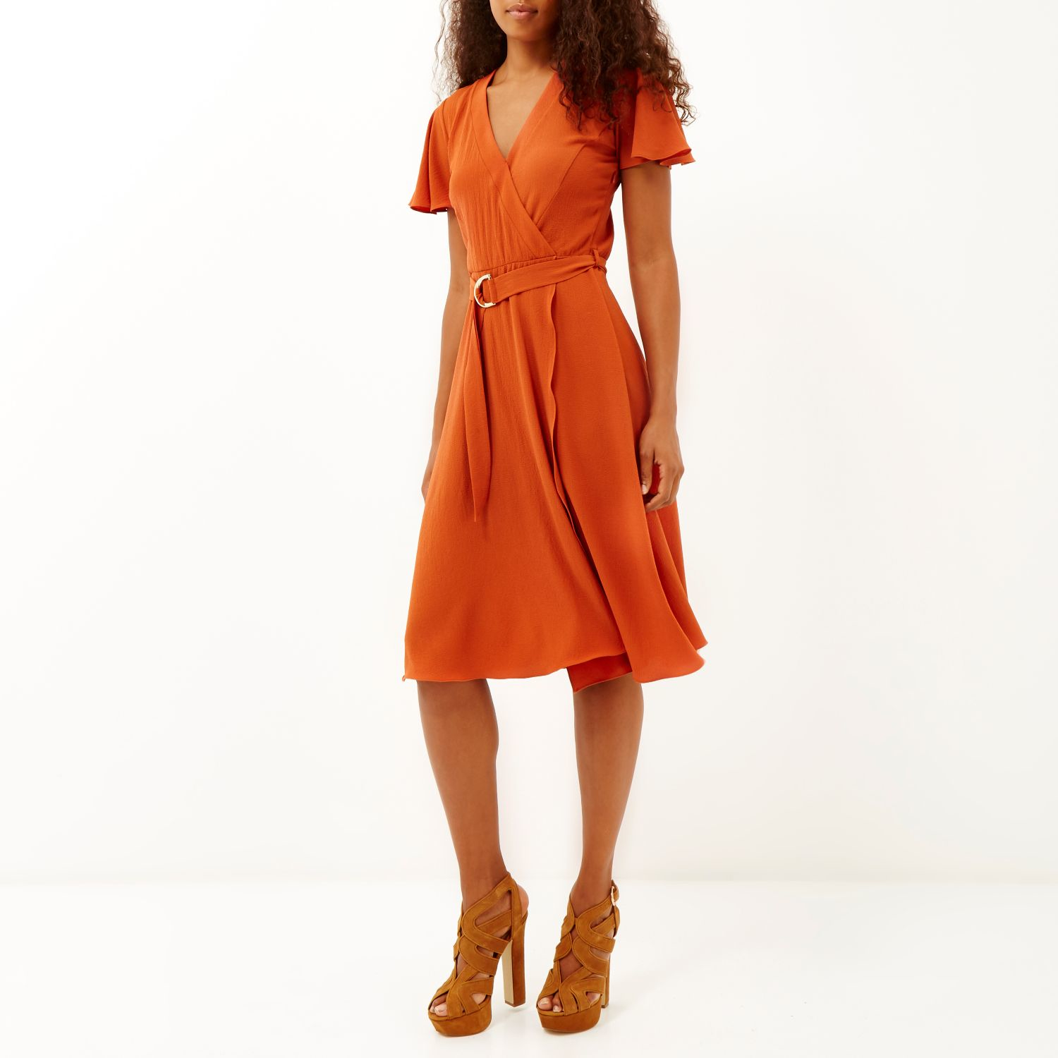 Scuba River Island Midi Orange Dress