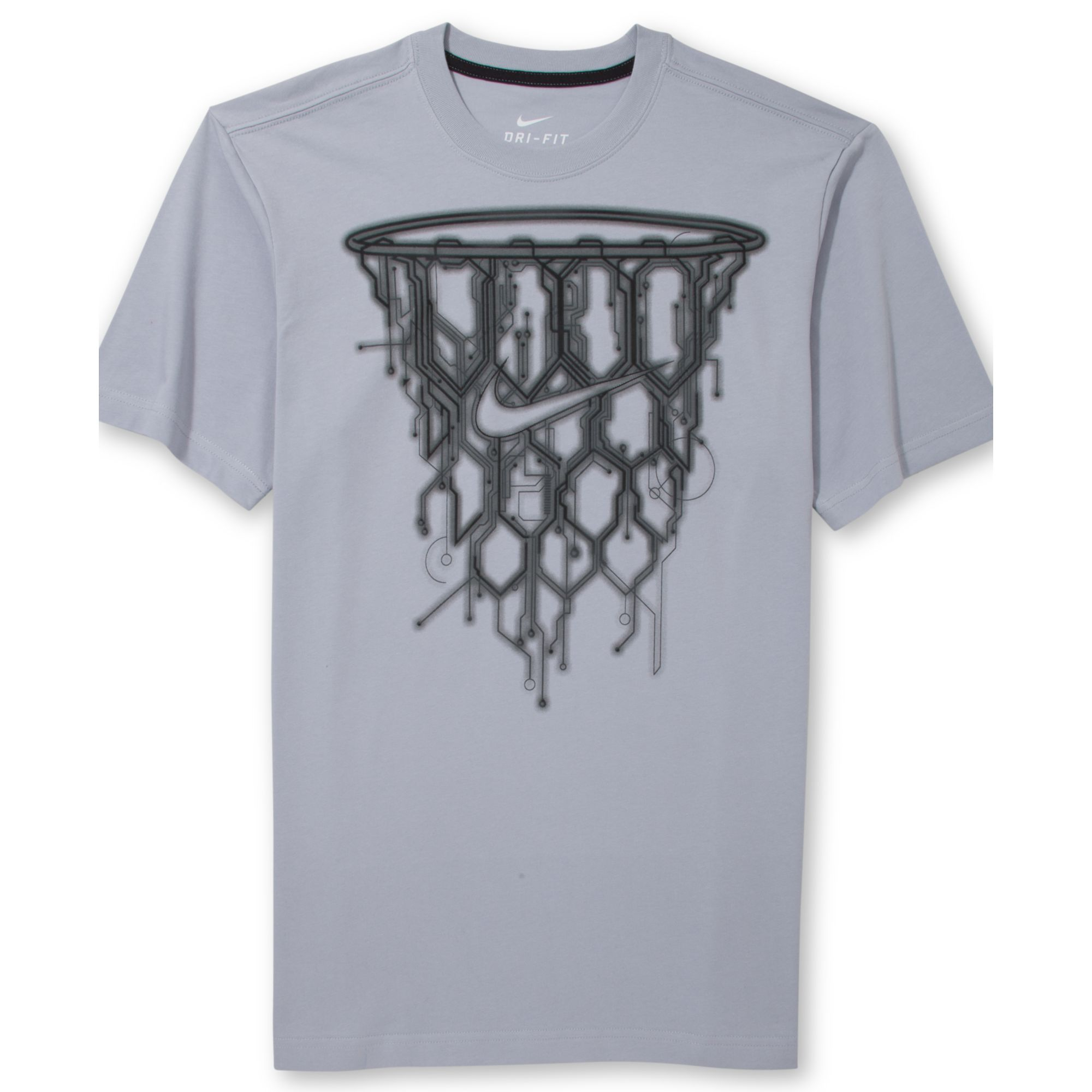 nike basketball net graphic tshirt in gray for men lyst. Black Bedroom Furniture Sets. Home Design Ideas