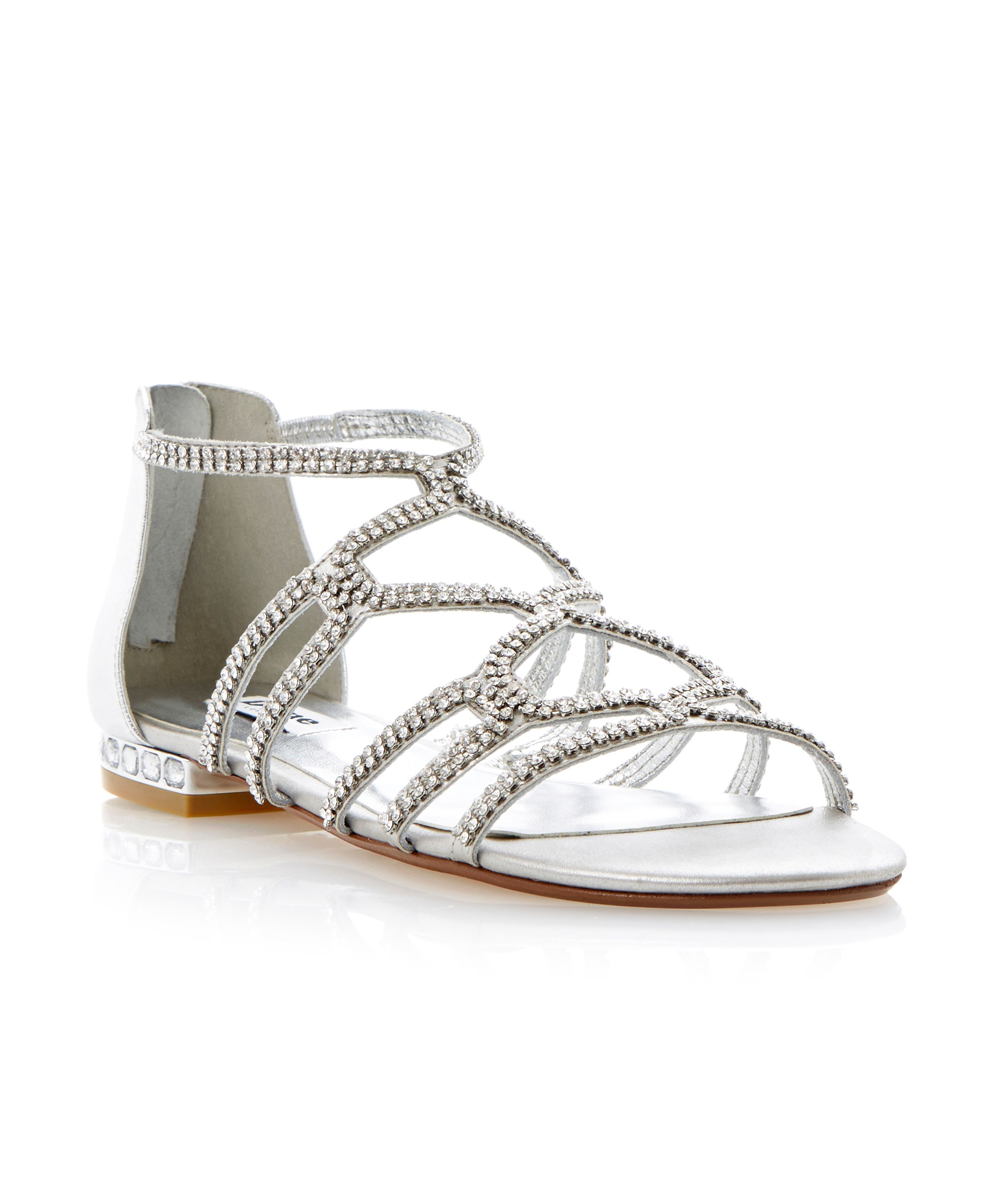 Dune Kym Caged Diamante Flat Sandals in Metallic | Lyst