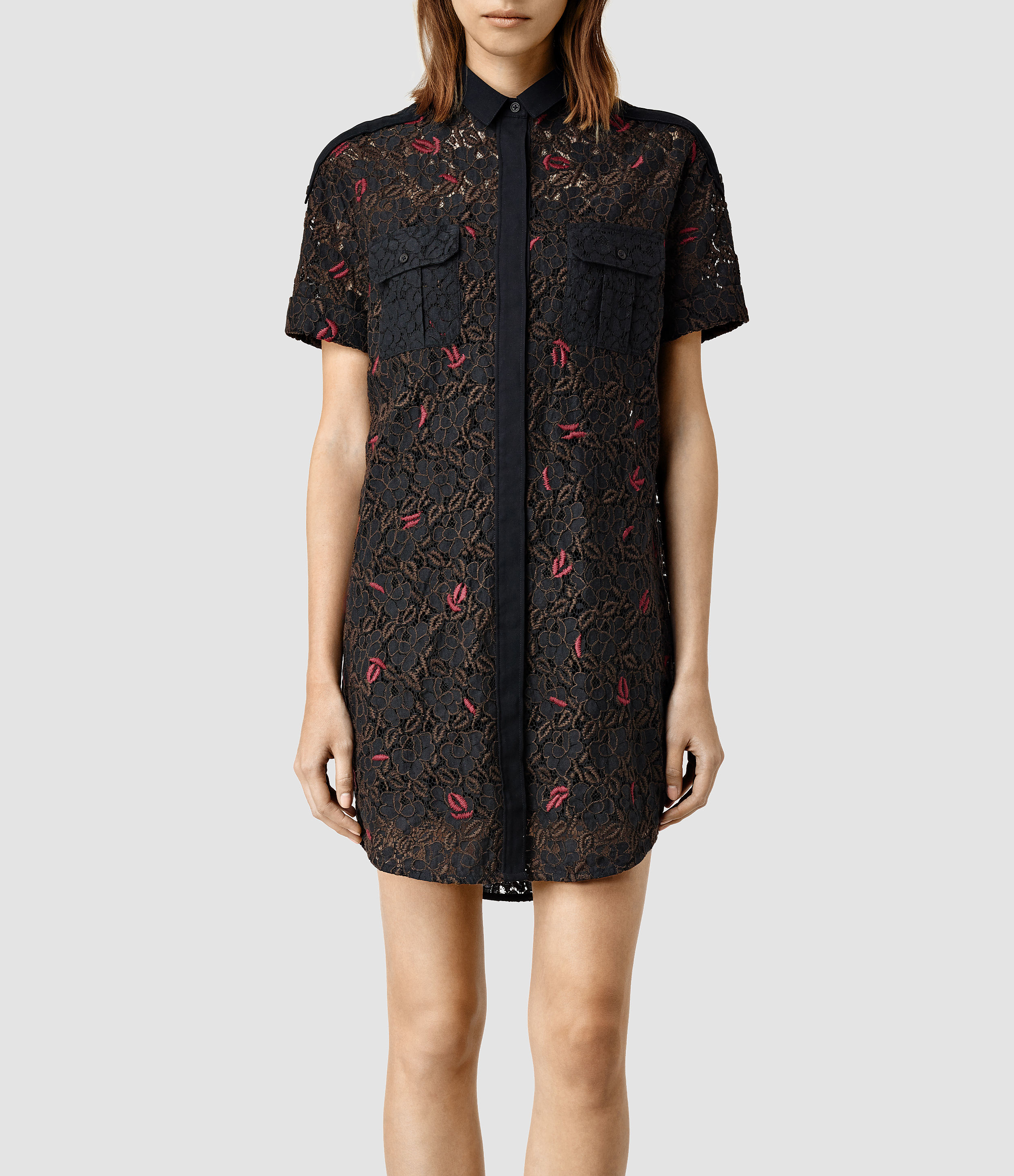 Allsaints Leela Embroidered Shirt Dress In Black  Lyst