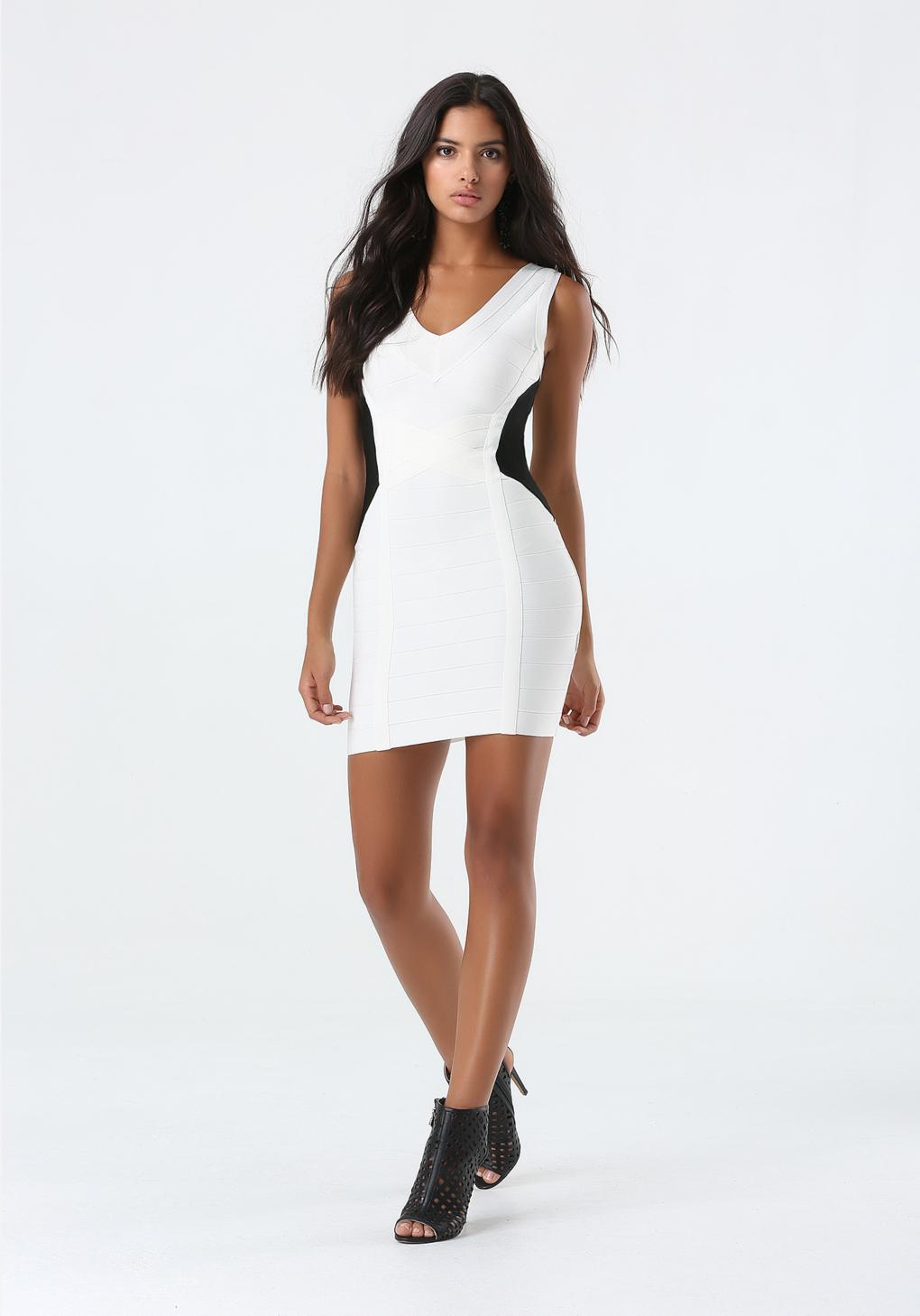 Lyst Bebe Black Amp White Bandage Dress In White
