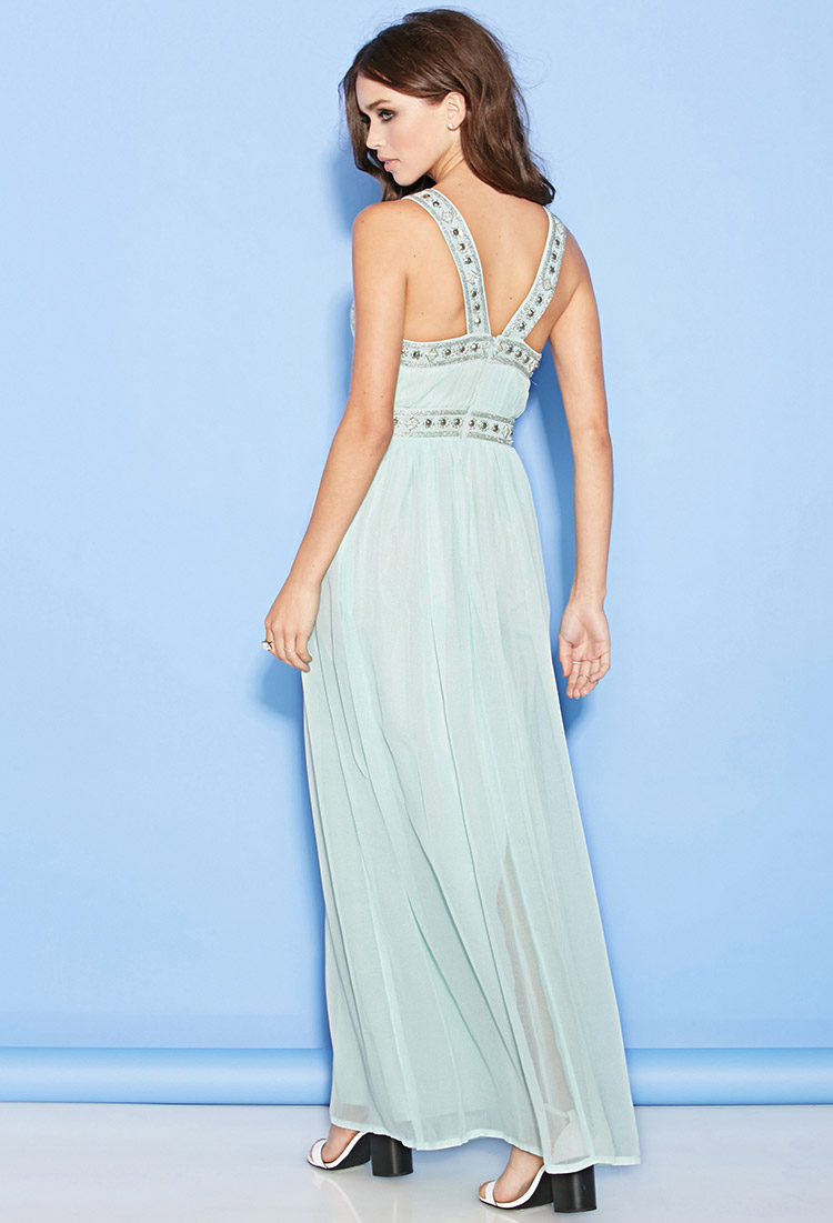 Forever 21 Beaded Chiffon Maxi Dress in Green | Lyst