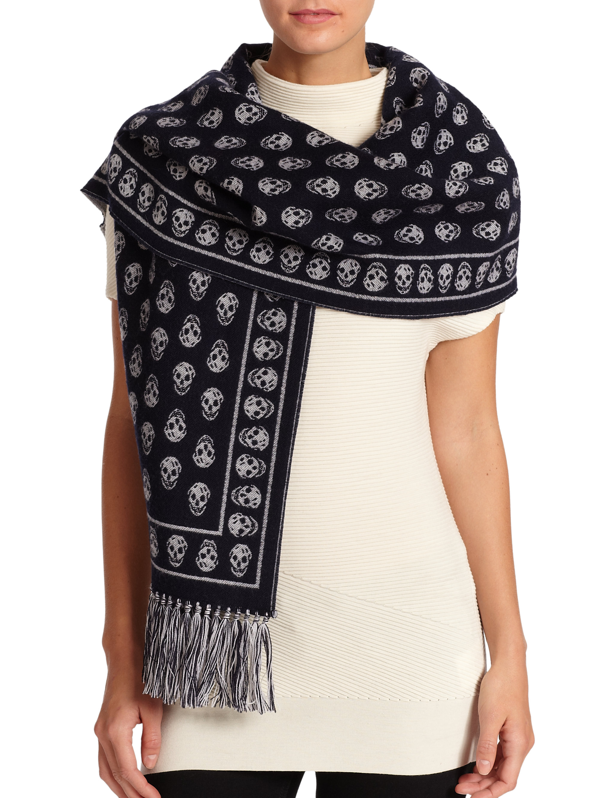 79e780160382 Gallery. Previously sold at  Saks Fifth Avenue · Women s Alexander Mcqueen  Skull Scarf ...
