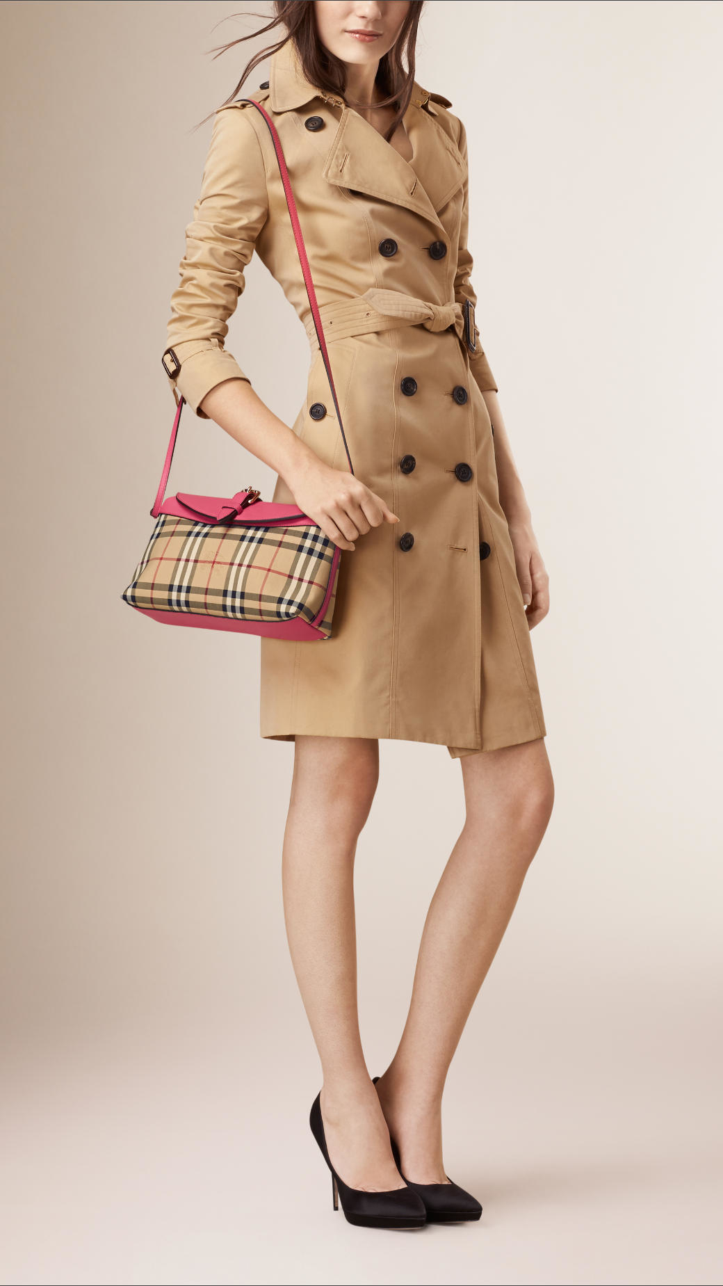94471f06c8 Burberry Small Horseferry-Check Clutch Bag in Natural - Lyst