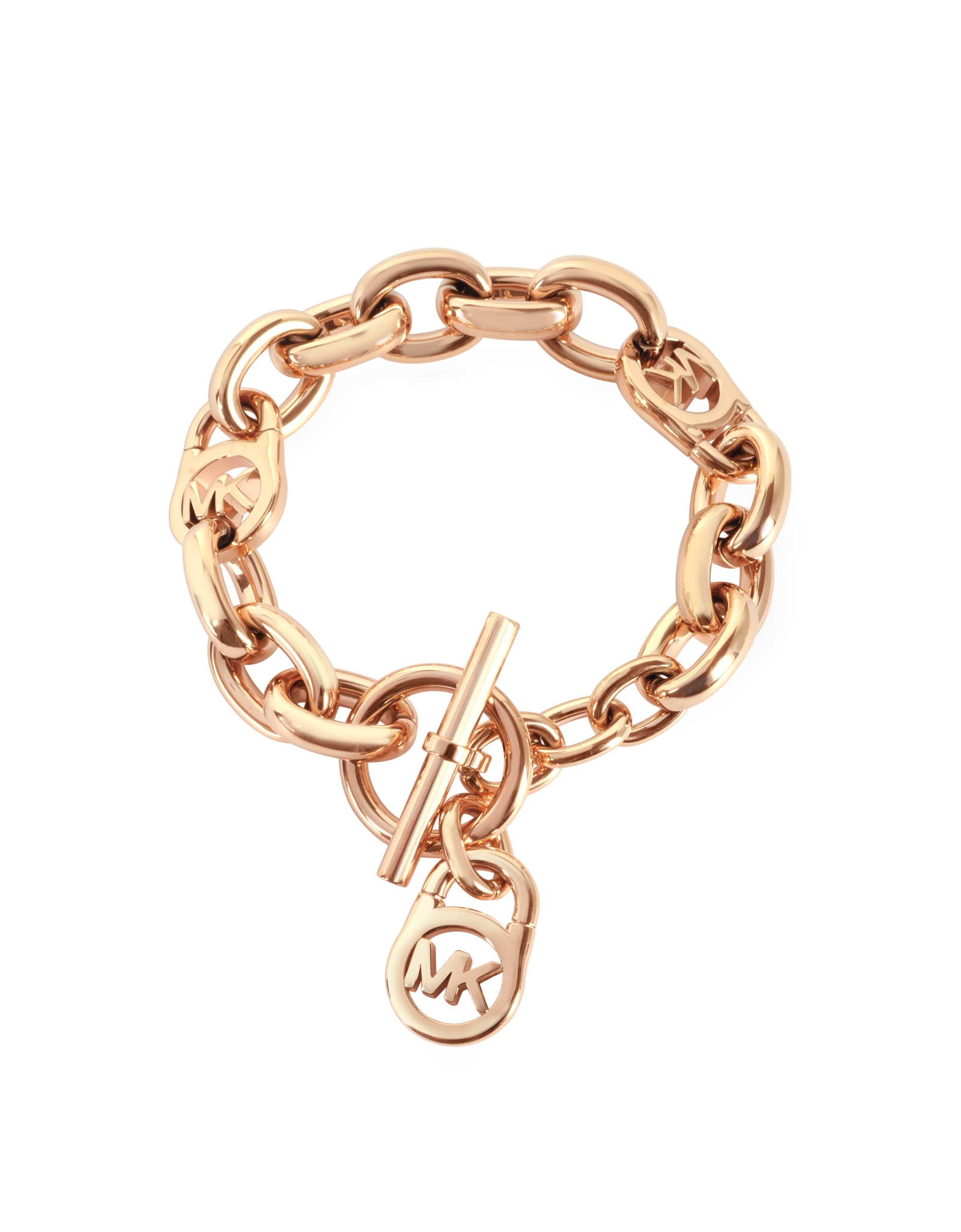 9a55e6a37325 Lyst - Michael Kors Heritage Rose Gold-tone Logo-lock Charm Women s ...