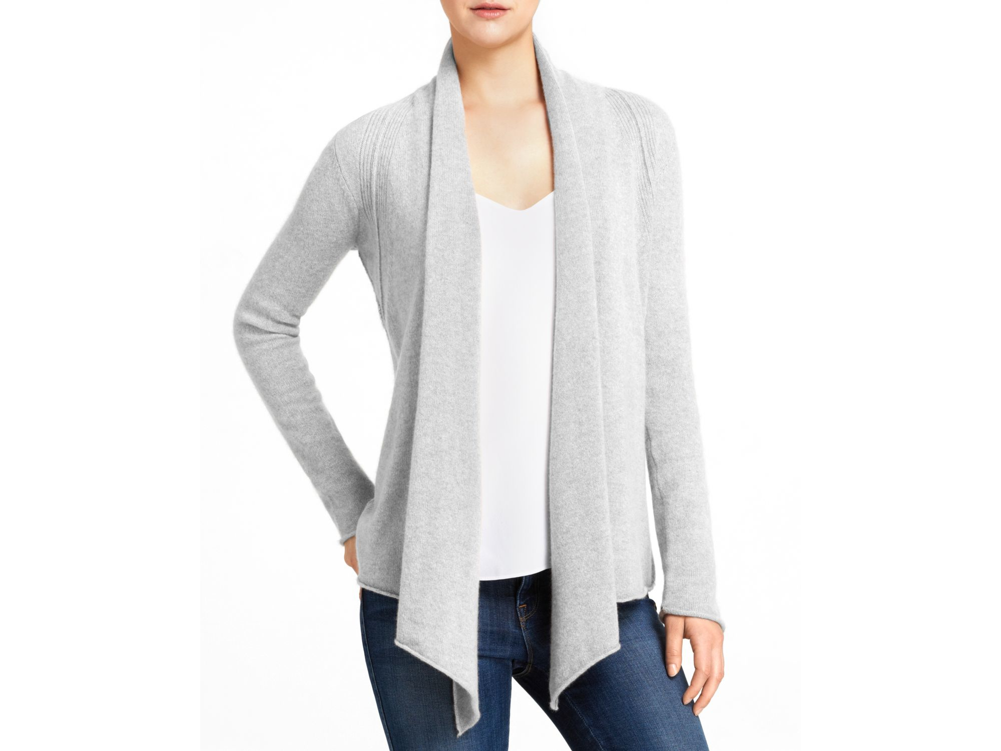 Aqua Cashmere Cashmere Drape Front Cardigan in Gray | Lyst