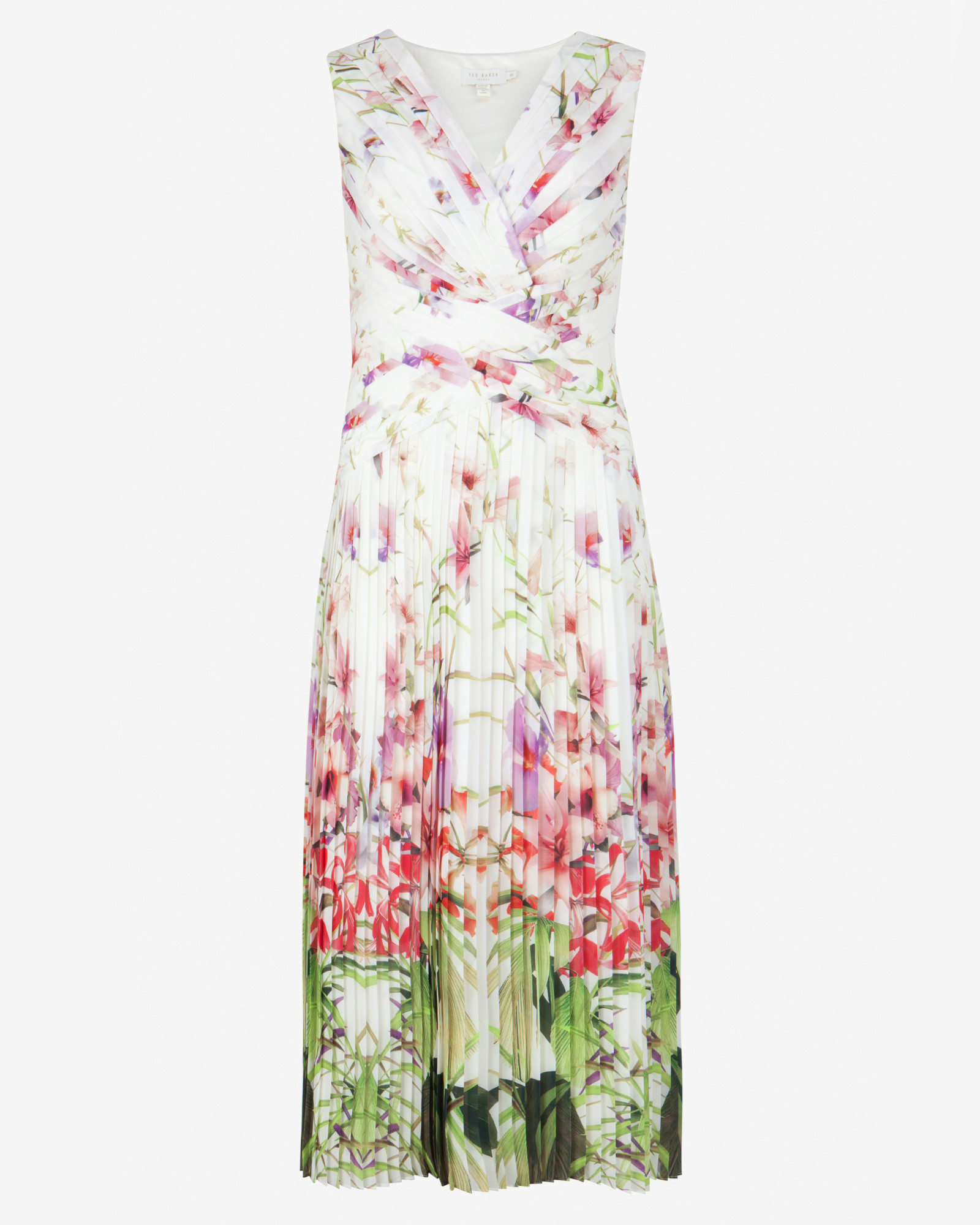 658f2fc1fd5 Ted Baker Mirrored Tropics Pleated Midi Dress in White - Lyst