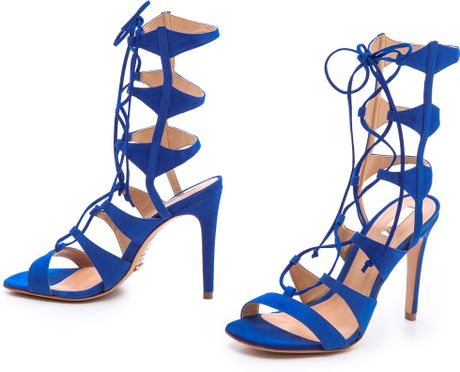 Schutz Erlene Lace Up Sandals In Blue Royal Lyst