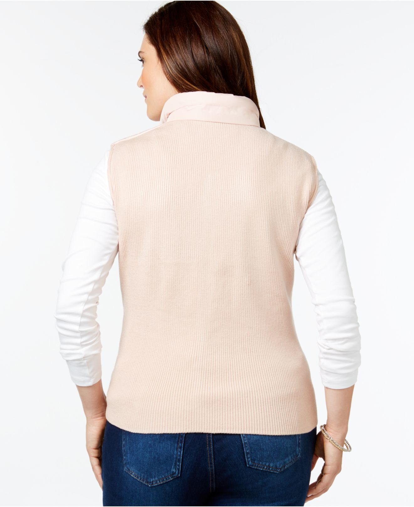 Lyst Calvin Klein Plus Size Quilted Vest In Natural