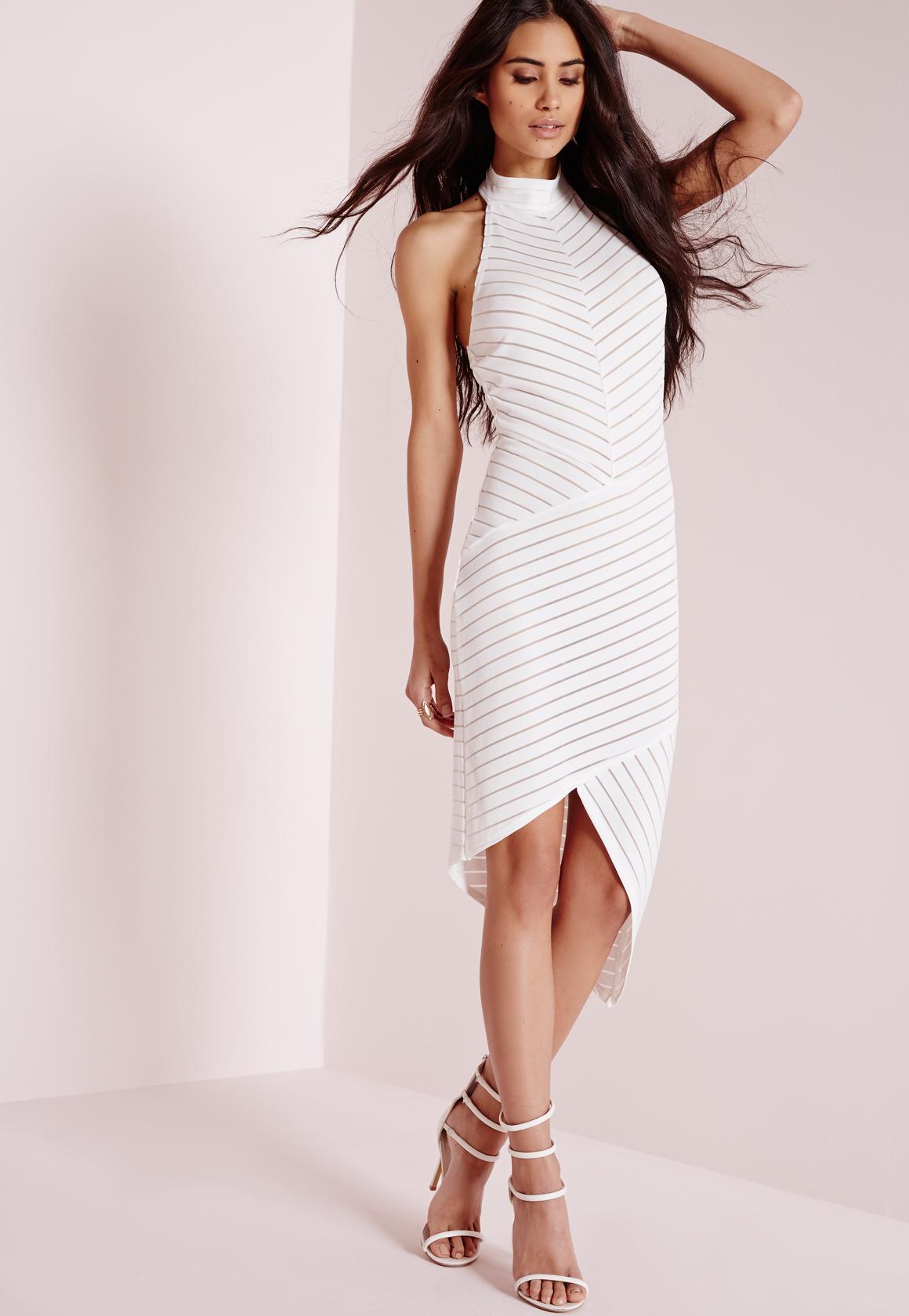 Sleeveless Collarless Dresses Stripes Bodycon angeles penney