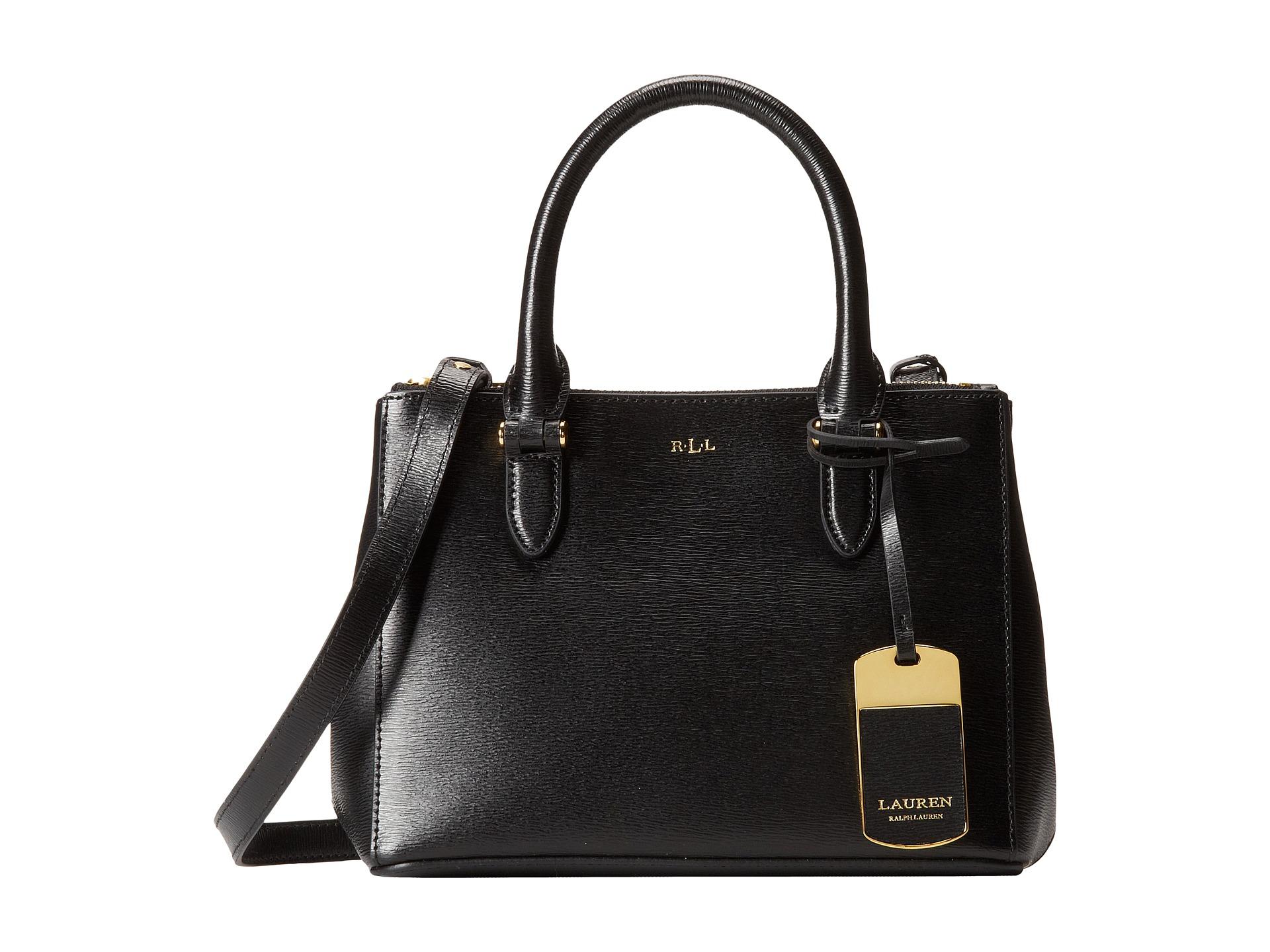 ffde734d8cd Lyst - Lauren by Ralph Lauren Newbury Mini Double Zip Satchel in Black