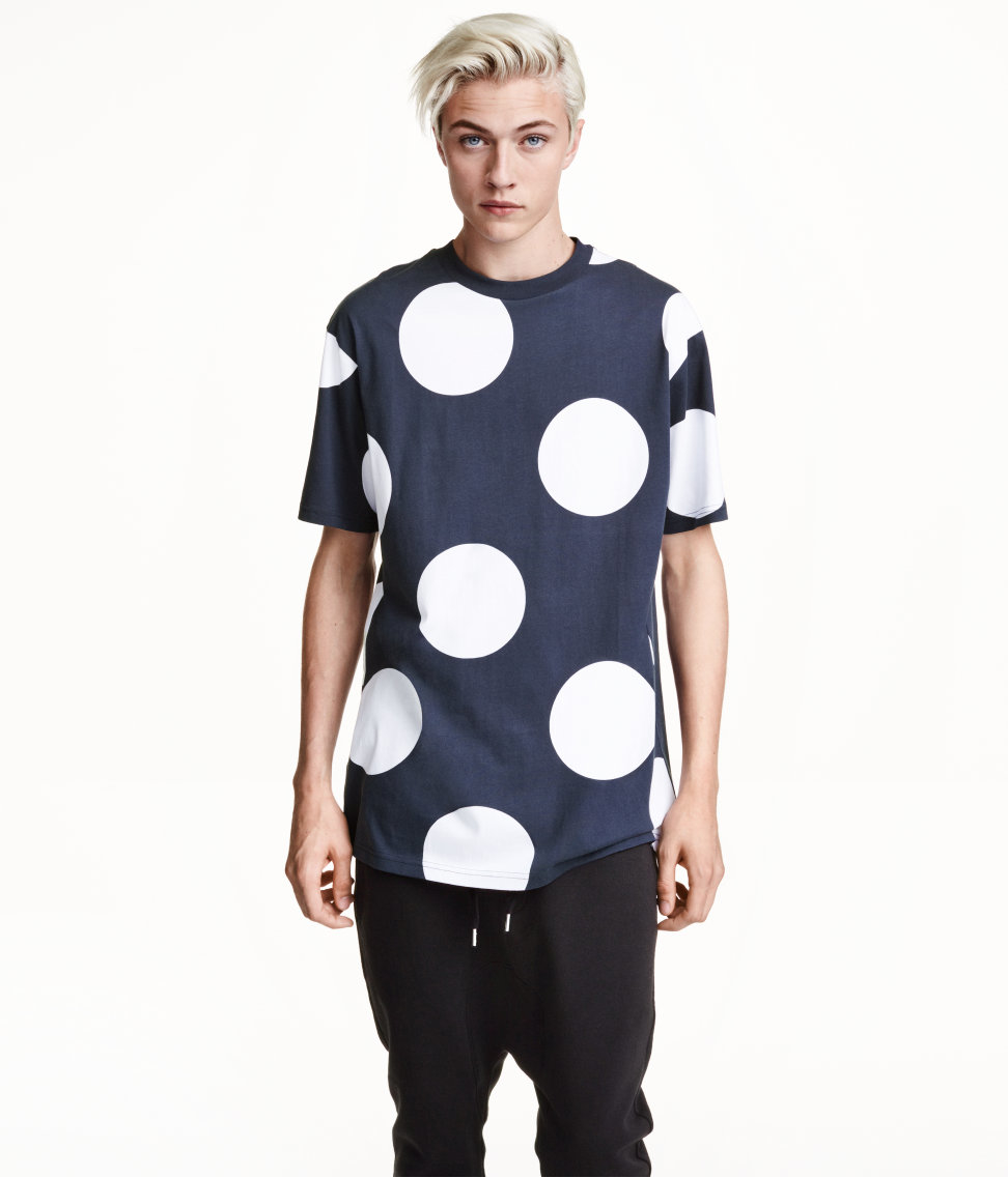 h m t shirt with a print in blue for lyst