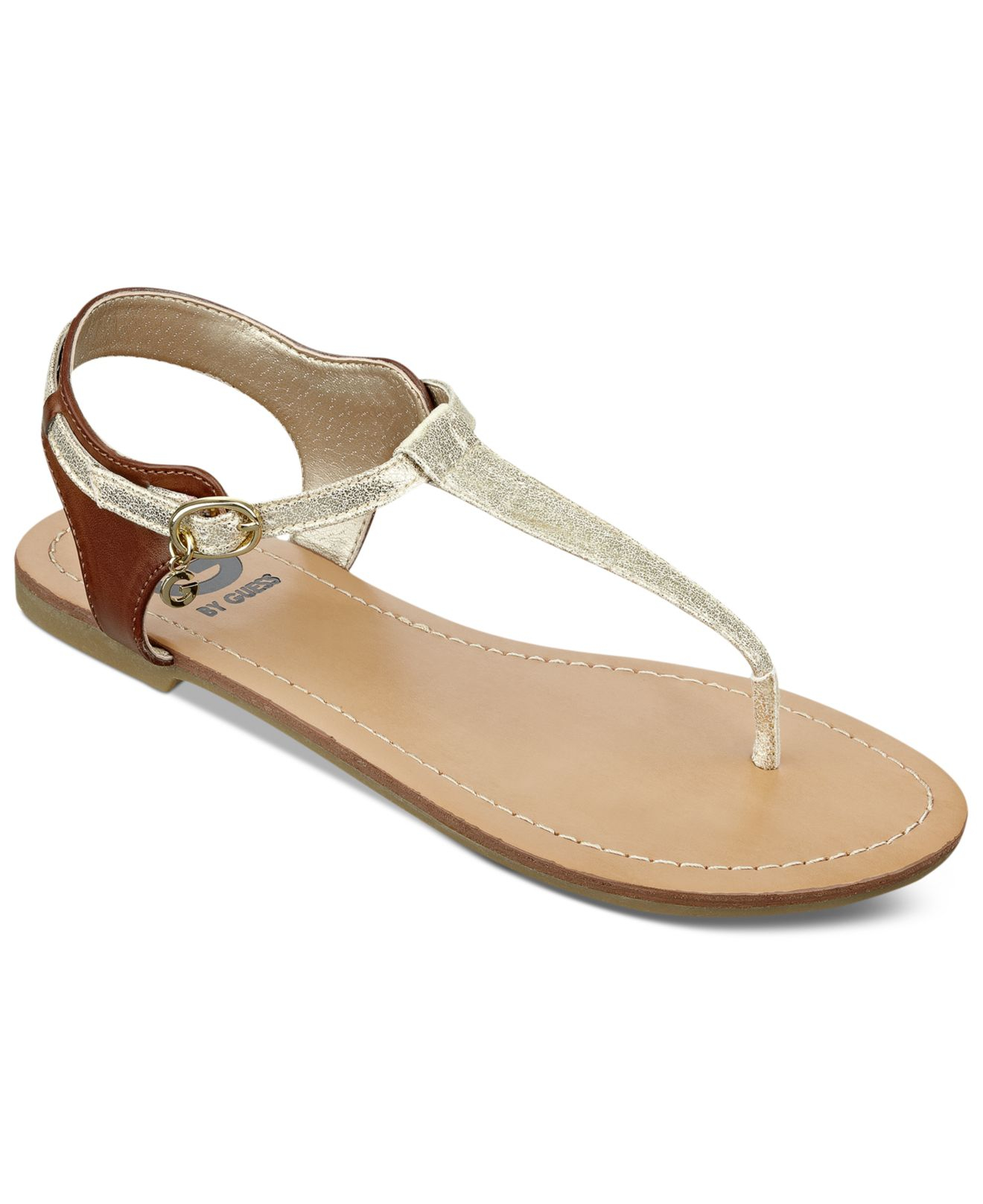 G By Guess Women S Luzter T Strap Flat Thong Sandals In