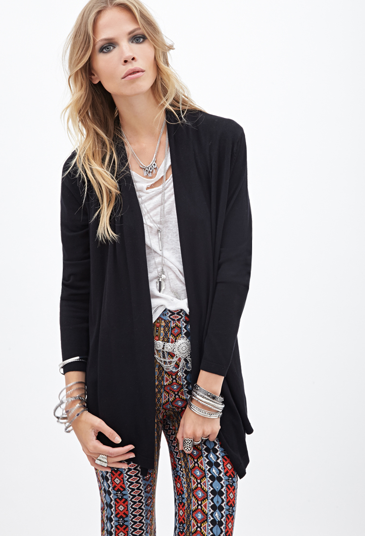 Forever 21 Classic Open-front Cardigan in Black | Lyst