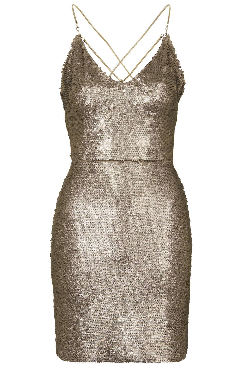 f9a74f113da TOPSHOP Brushed Sequin Dress in Metallic - Lyst