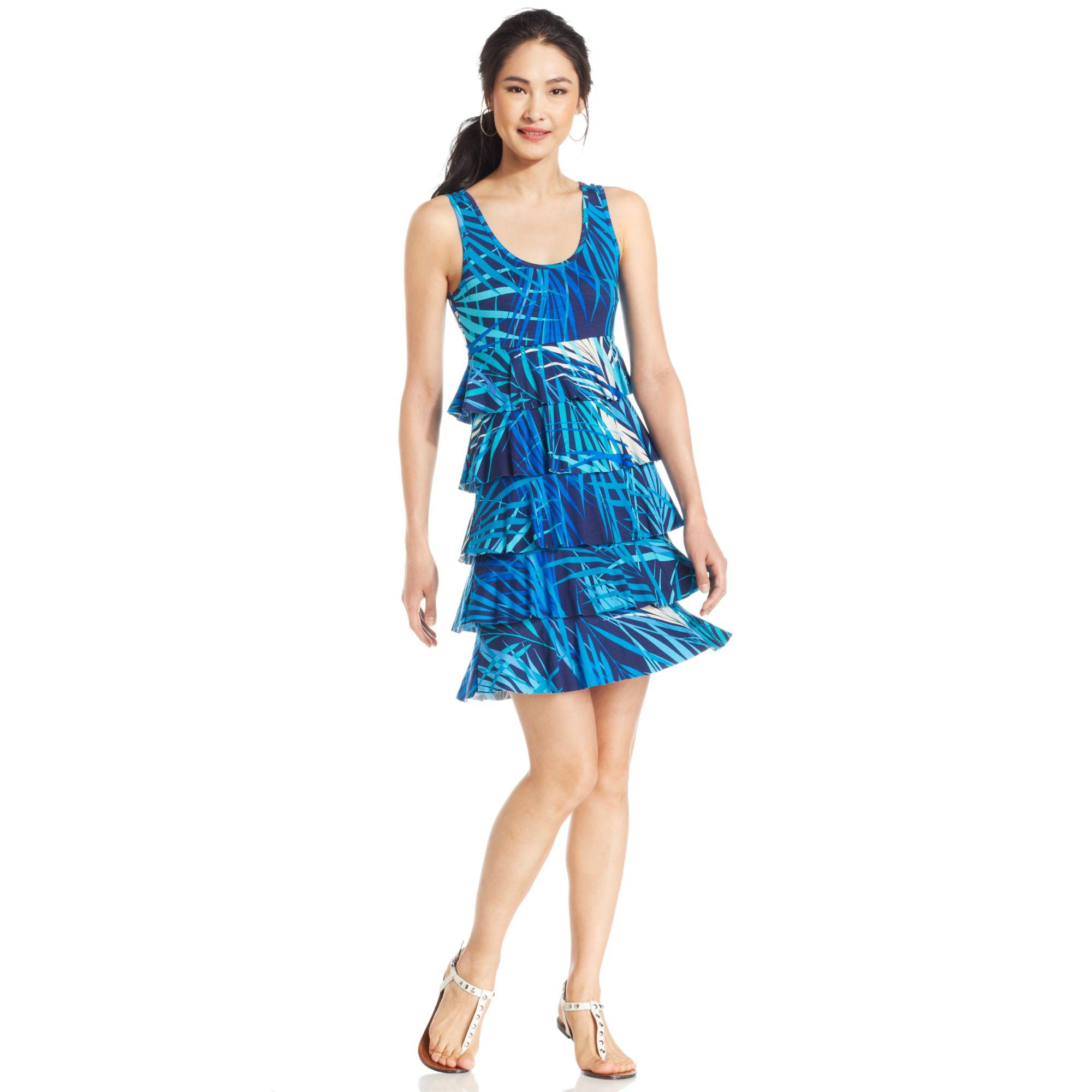 Lyst Spense Petite Sleeveless Leafprint Tiered Dress In Blue