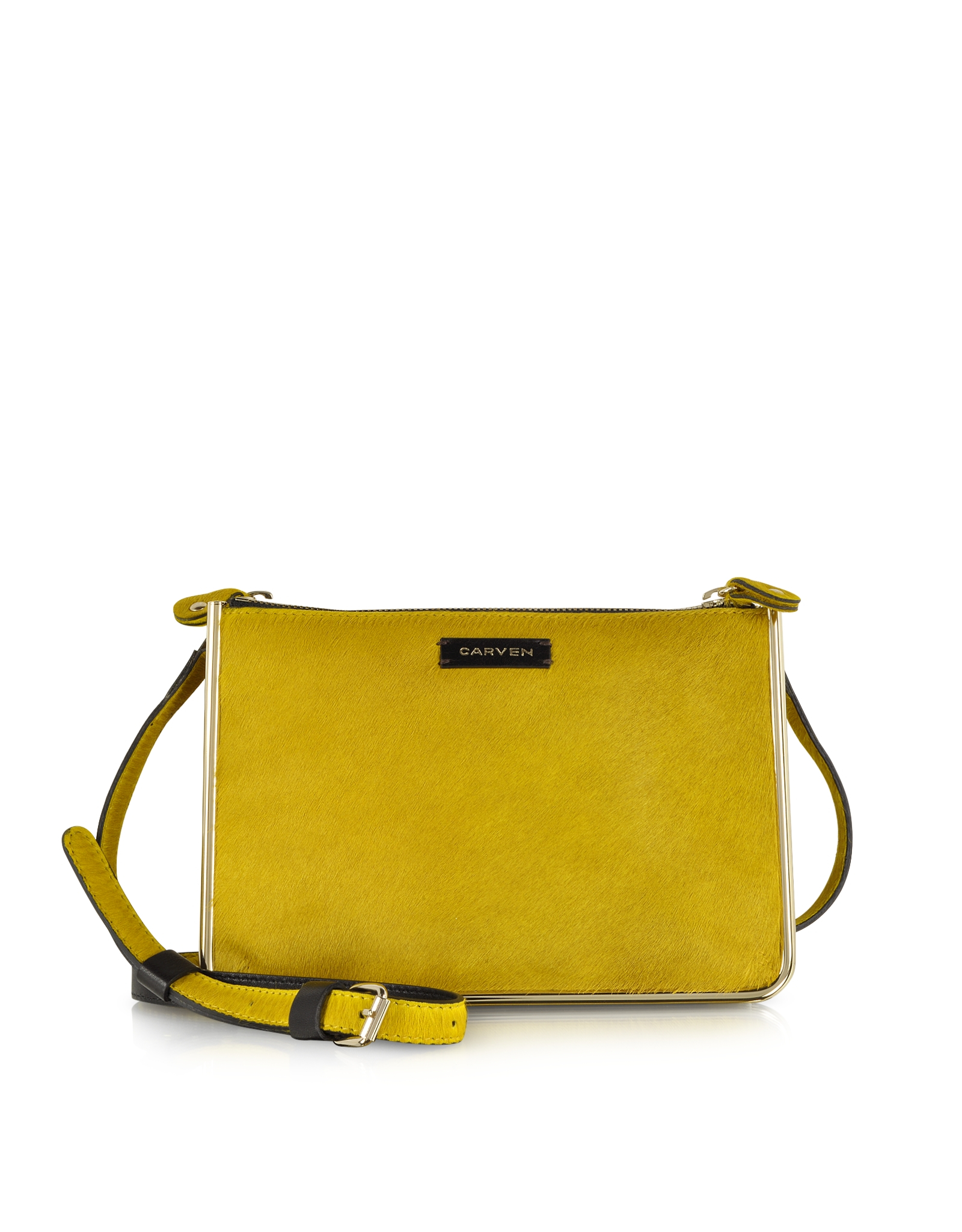 carven duo jonquille haircalf crossbody bag in yellow lyst