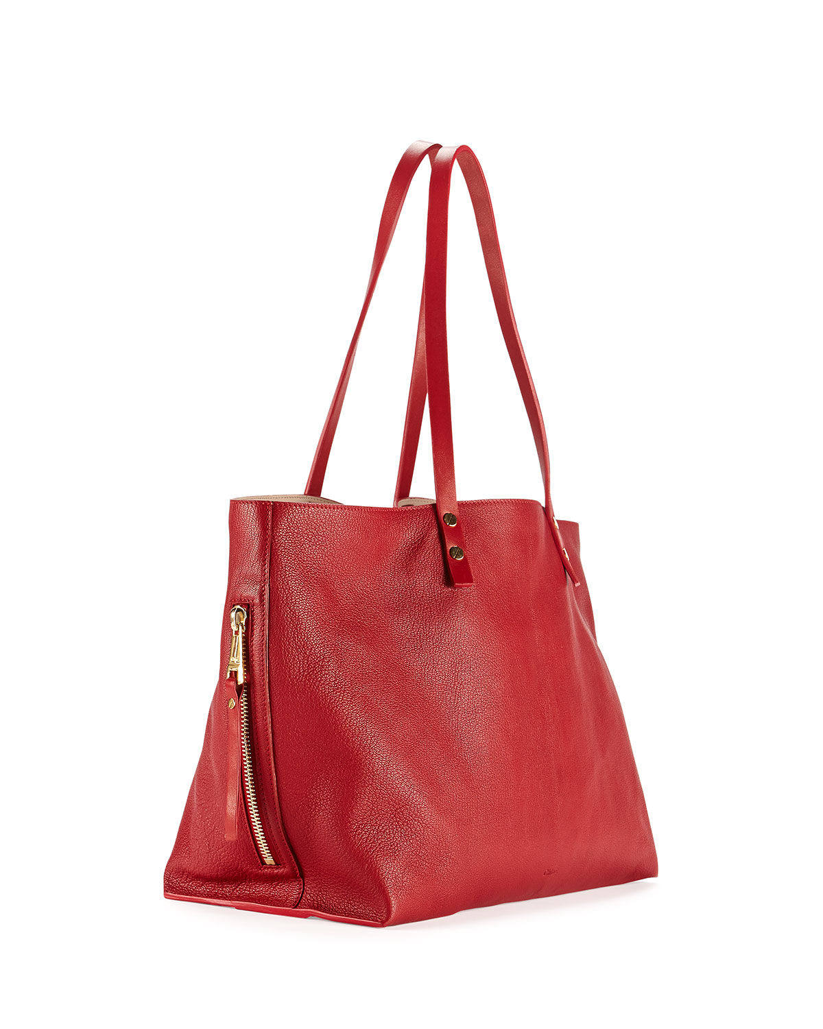 9eb37766757 Lyst - Chloé Dilan East-West Leather Tote Bag in Red