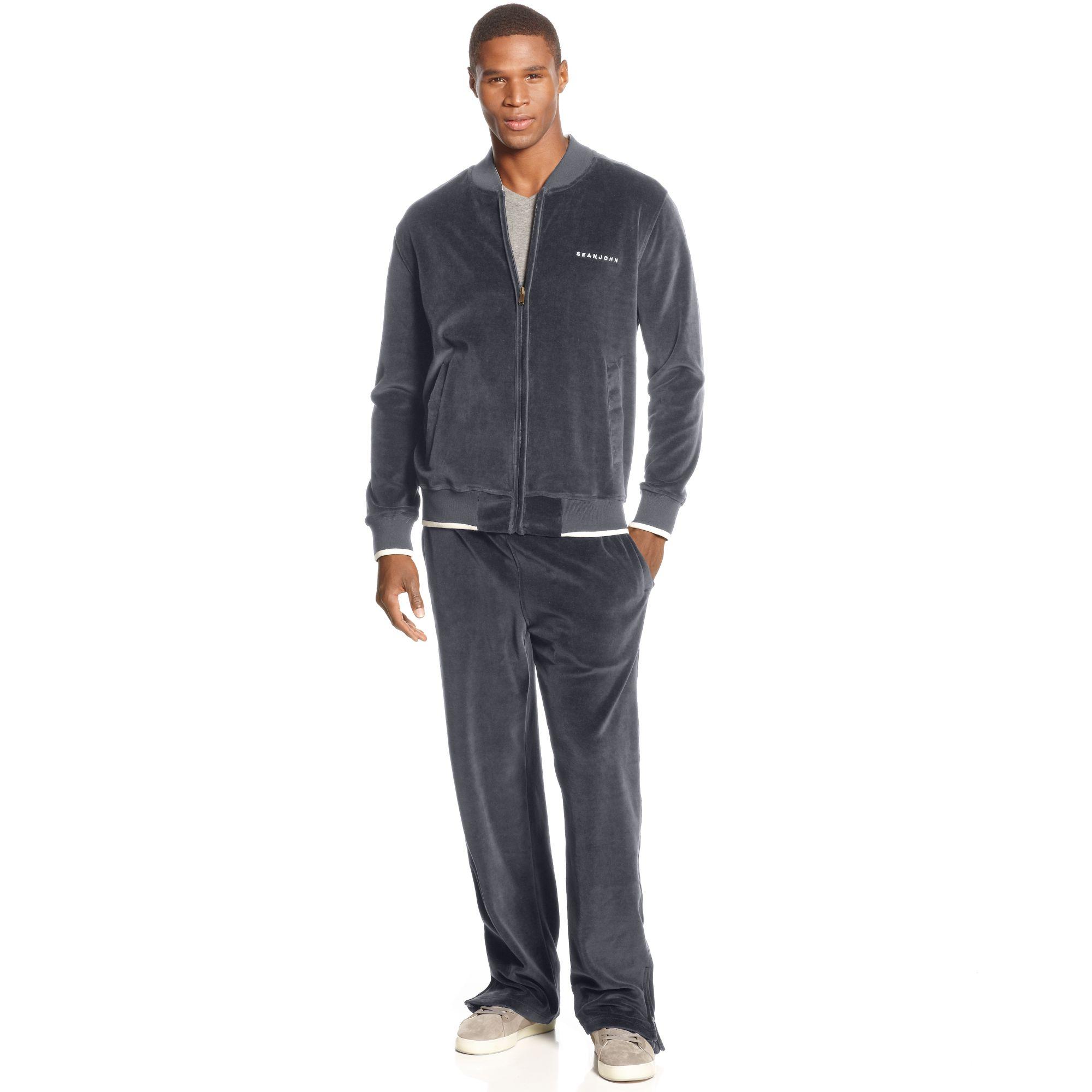 Sean John Velour Hook Up Track Suit In Gray For Men