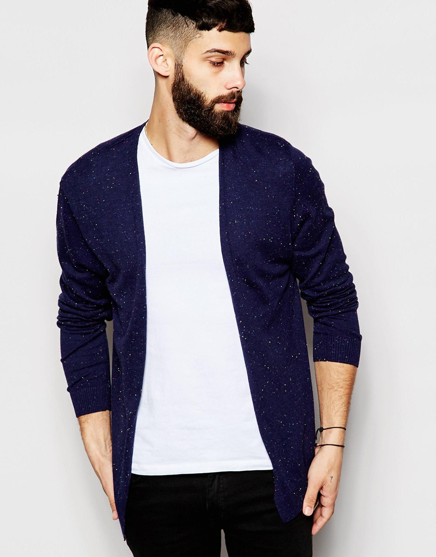 Asos Cotton Buttonless Cardigan In Navy Nep Cotton in Blue for Men ...