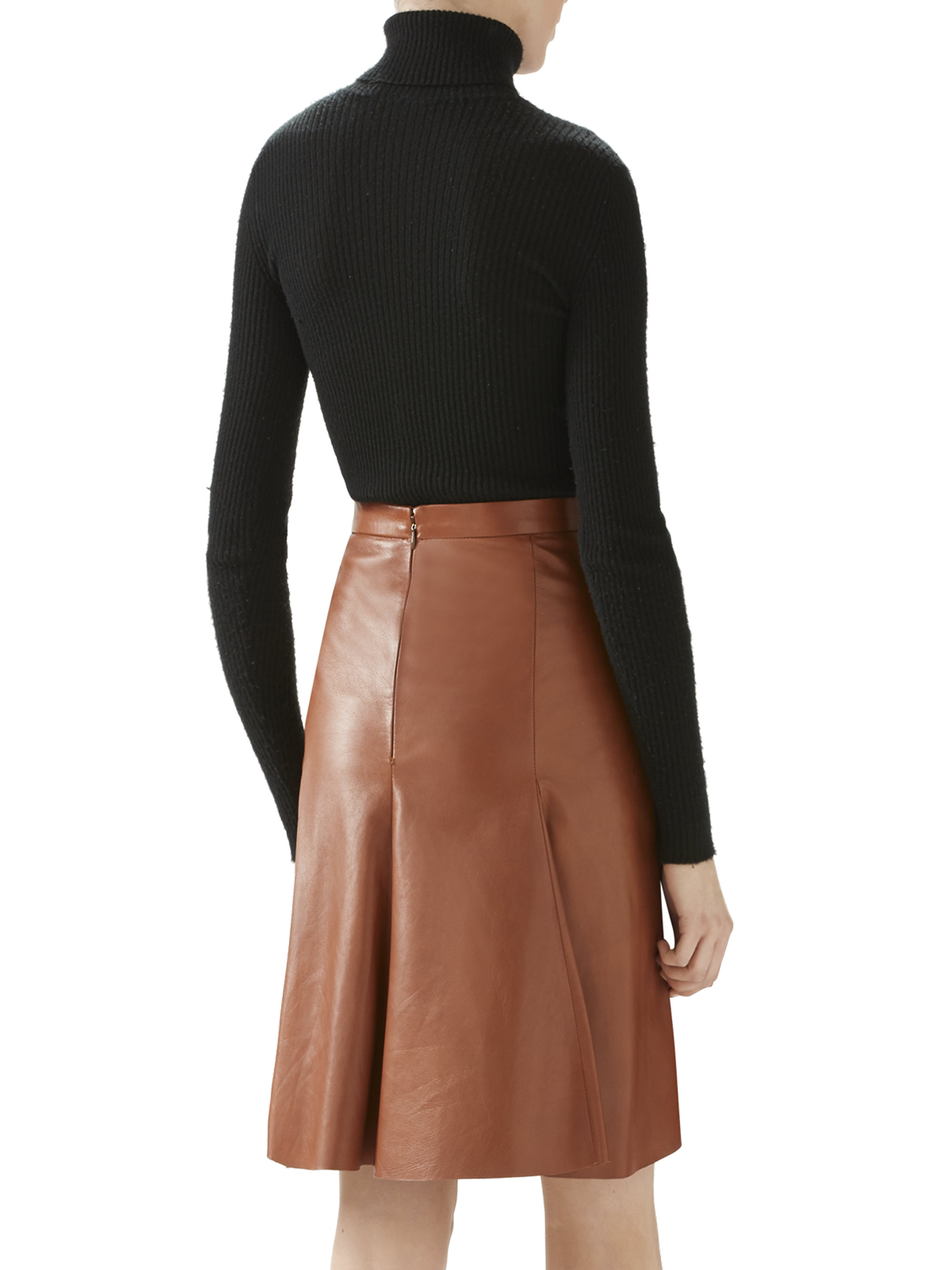gucci nappa leather godet skirt in brown lyst