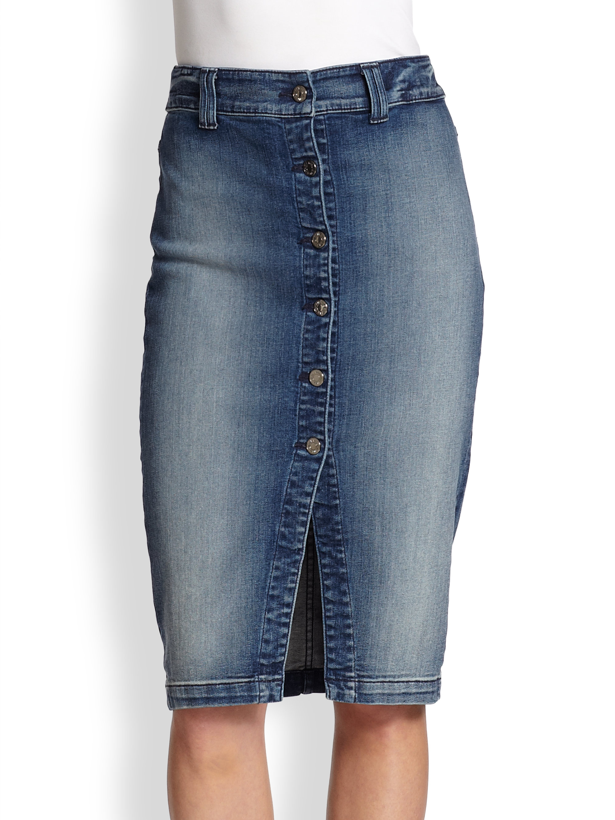 7 for all mankind Buttonfront Stretch Denim Pencil Skirt in Blue ...