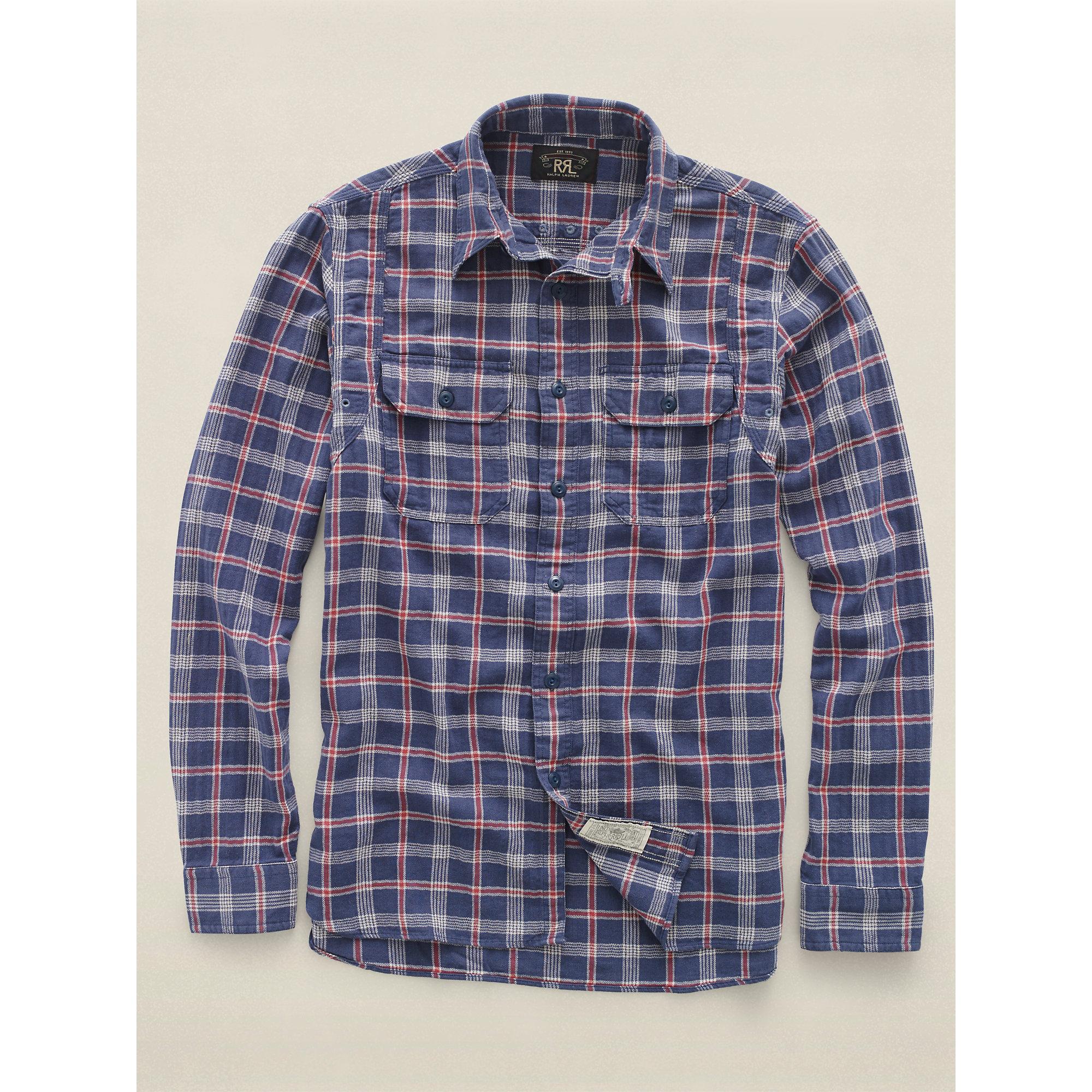 b75c5fba5f3 Lyst - Rrl Check Shirt in Brown for Men
