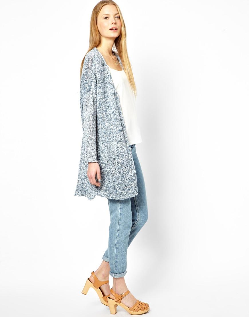 Ganni Longline Cardigan in Spot Knit in Blue | Lyst