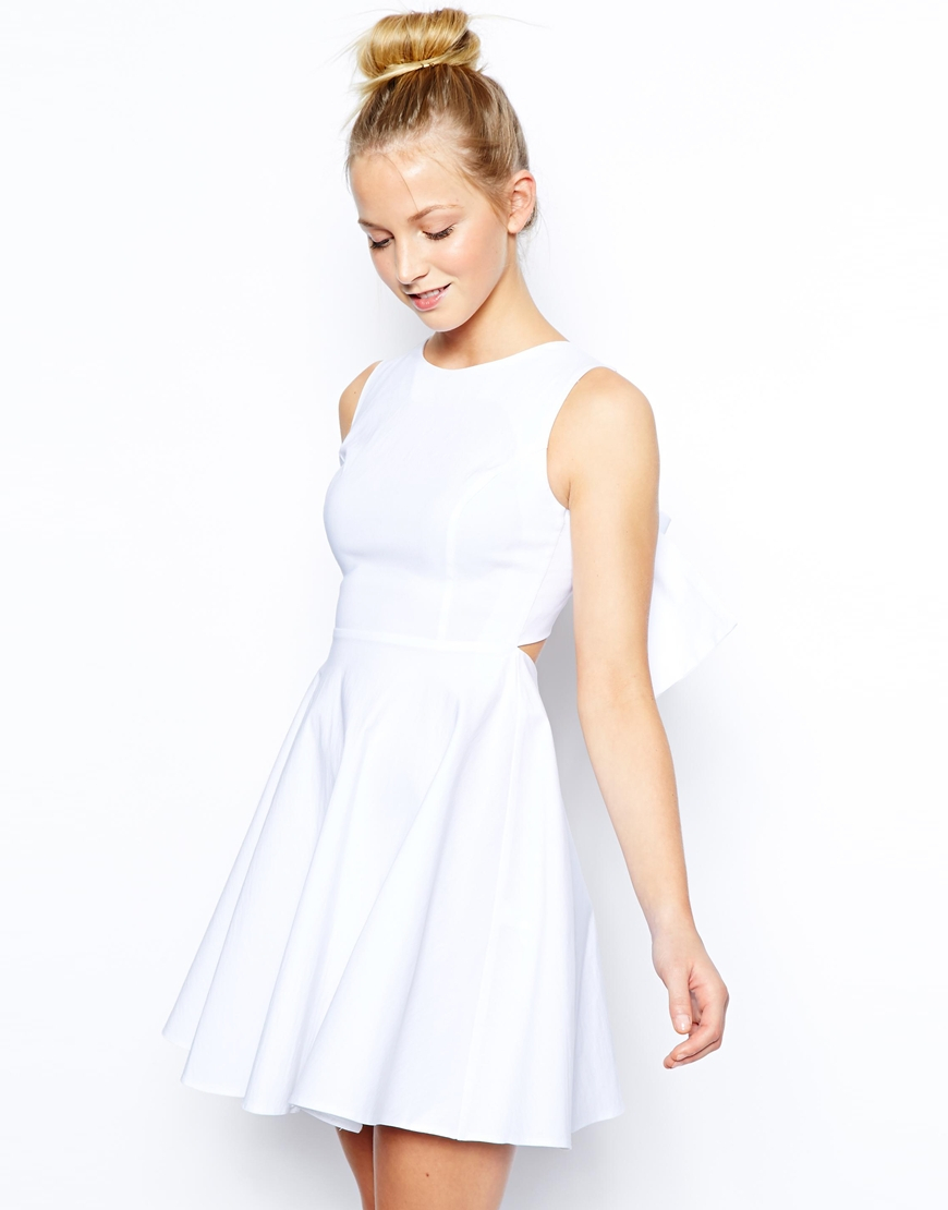 7aaad630058e Lyst - ASOS Exclusive Full Skirted Skater Dress With Bow Back in White