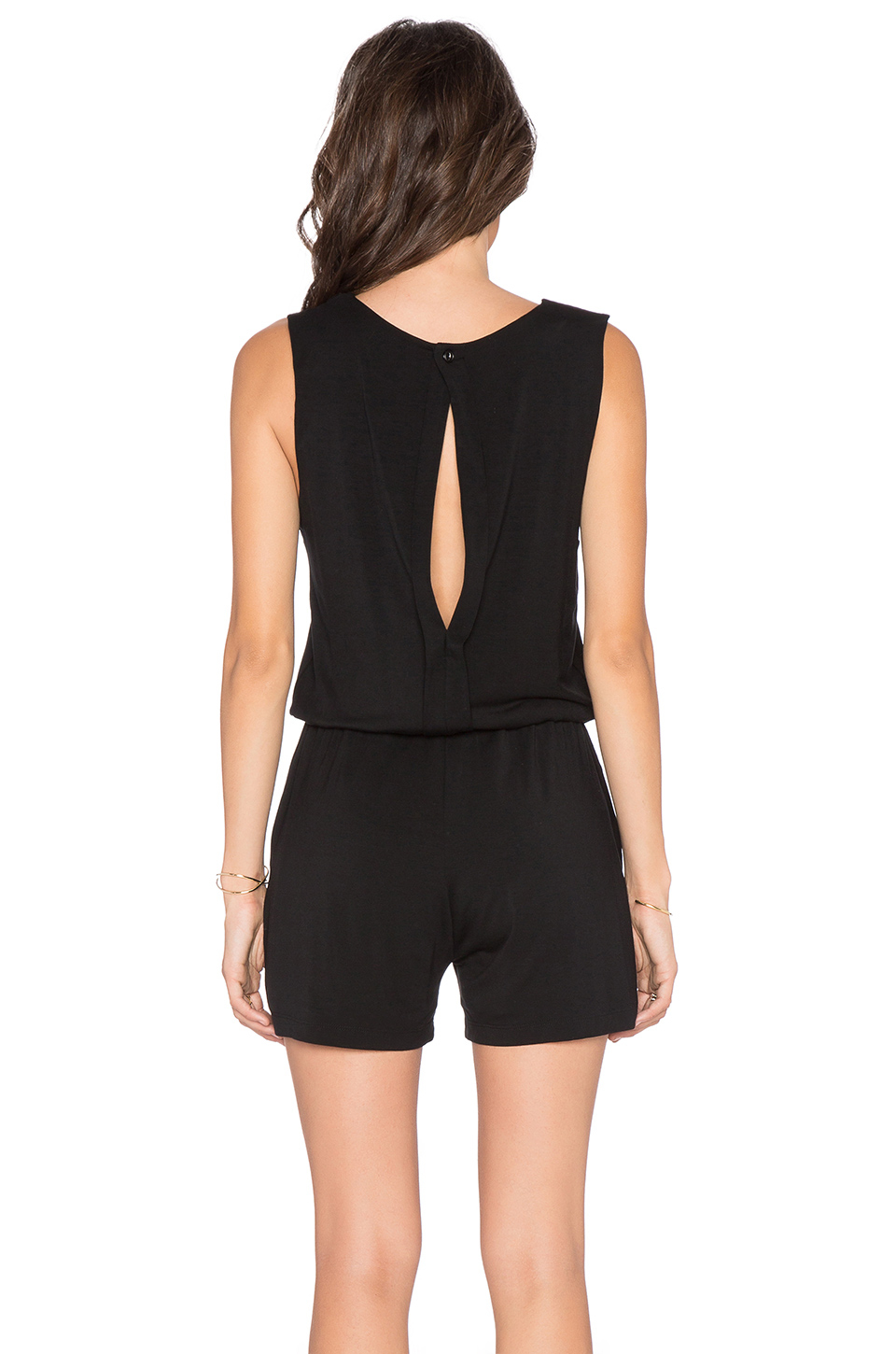 66834536095 Lyst - Blq Basiq Open Back Romper in Black