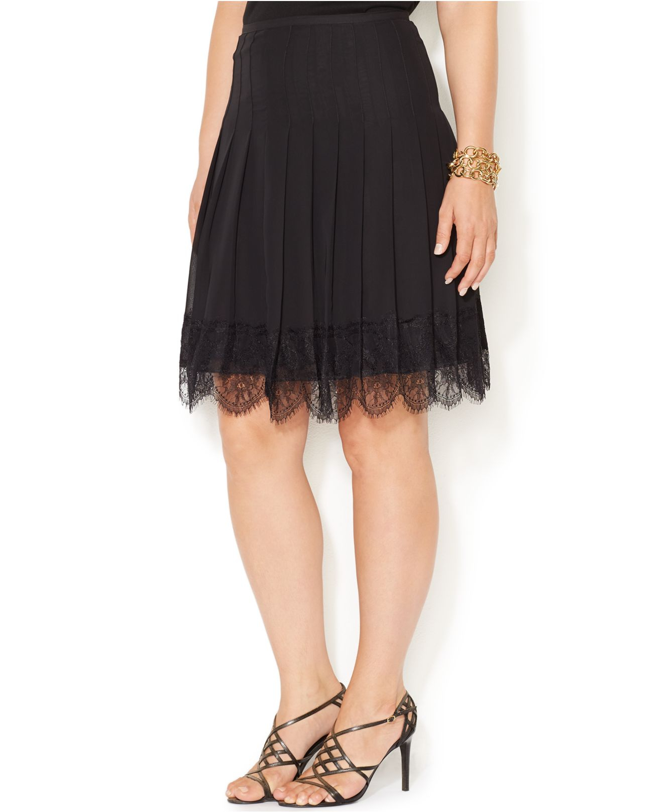 by ralph plus size pleated lace trim skirt