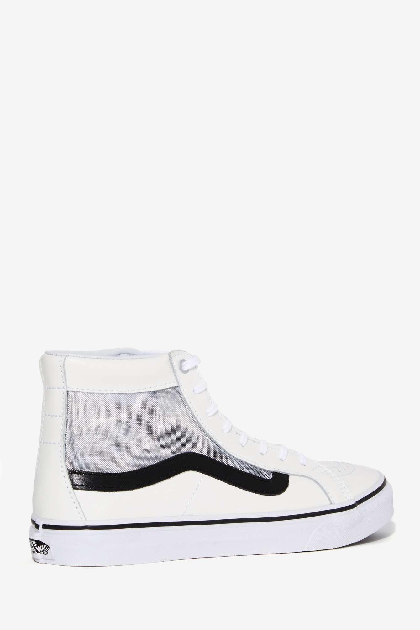 c5bfe24429 Lyst - Nasty Gal Vans Mesh Sk8-hi Slim Cutout Sneaker - White in White