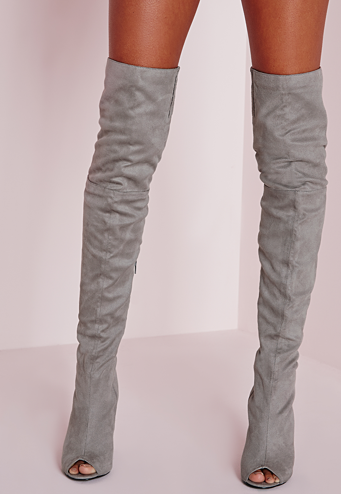 Missguided Peace   Love Over The Knee Peep Toe Boots Grey in Gray ...