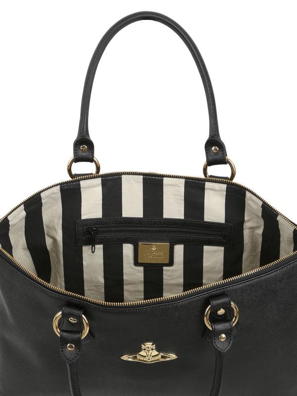 Lyst - Vivienne Westwood Divina Saffiano Faux Leather Bag in Black 7d3c51c0870f6