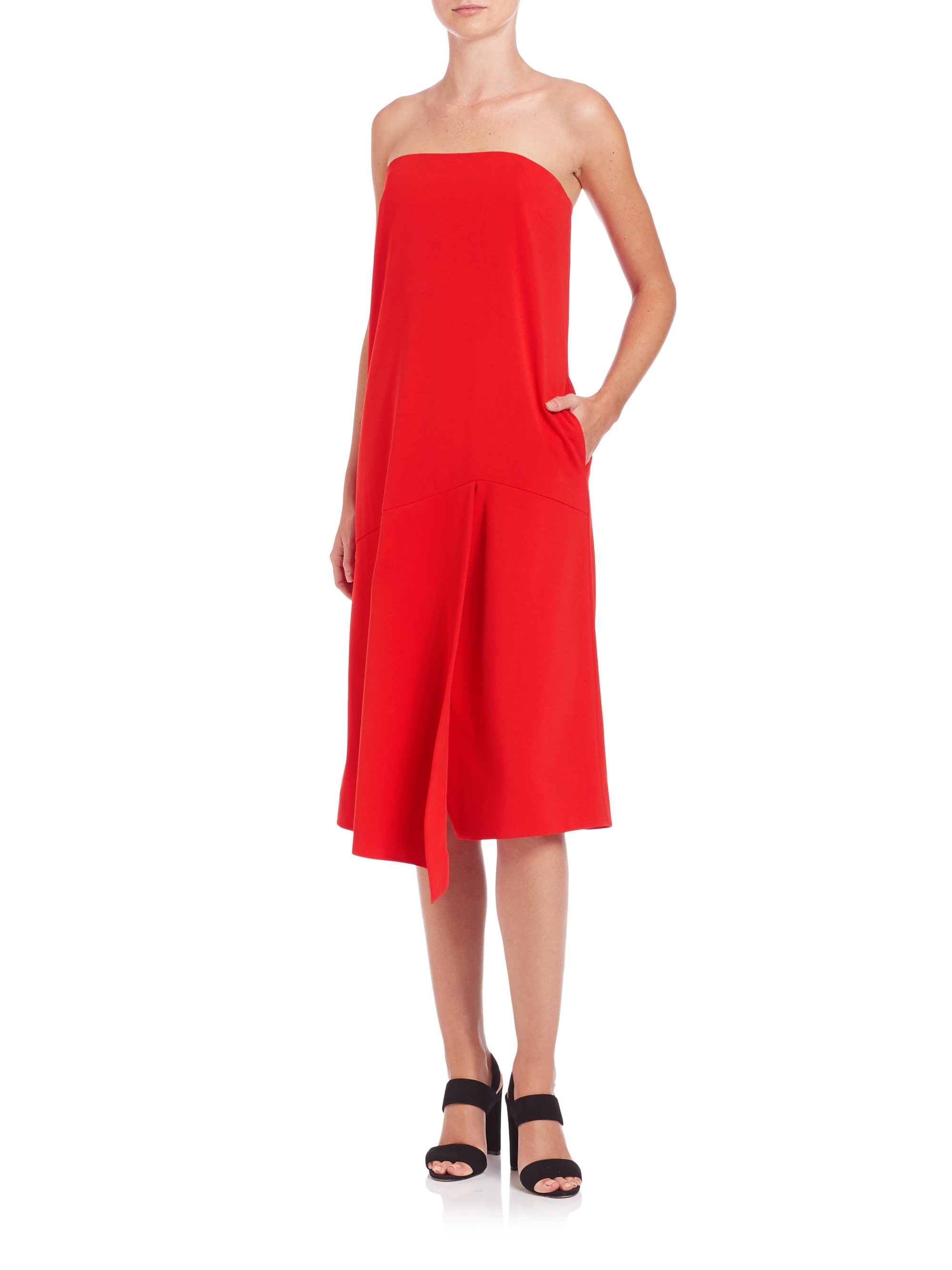 Tibi Structured Crepe Strapless Dress in Red - Lyst