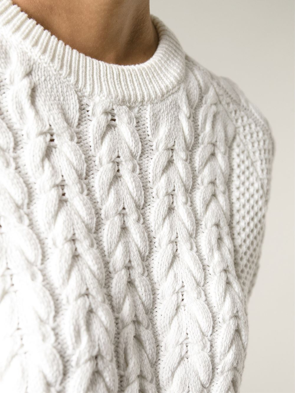 Sweater Knit : Lyst joseph short sleeve cable knit sweater in white