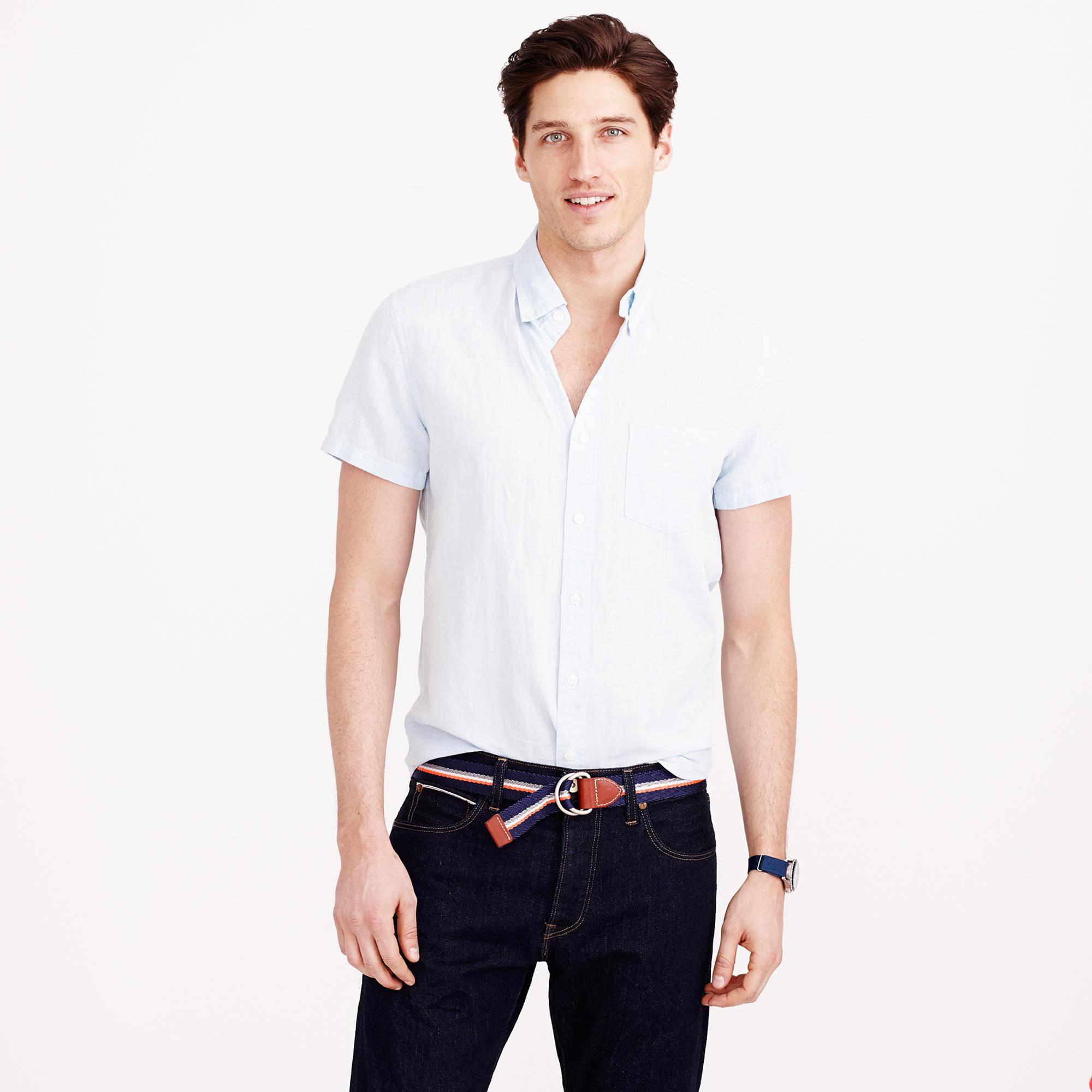 Lyst j crew short sleeve irish linen shirt in blue for men for Short sleeve linen shirt