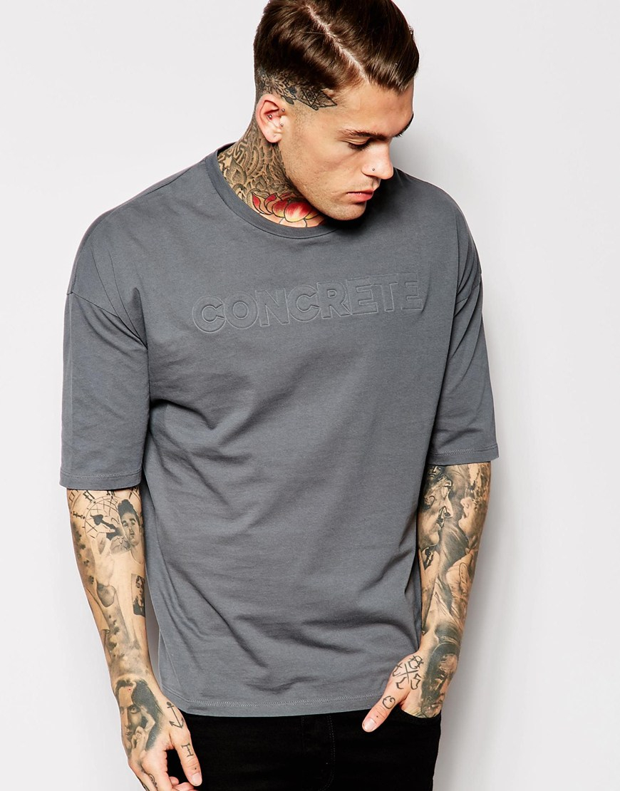 af77f4de ASOS T-shirt With Embossed Concrete Print In Oversized Fit in Blue ...
