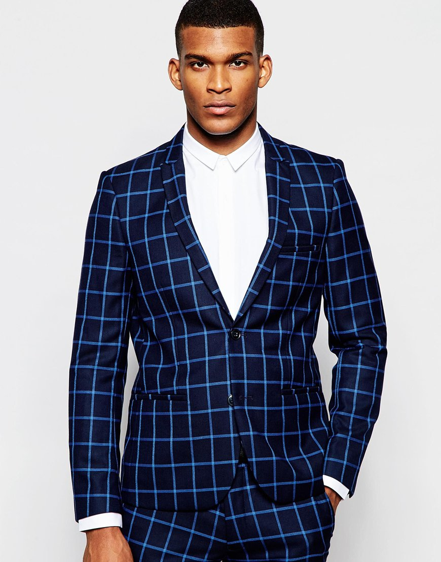 Vito Check Suit Jacket In Slim Fit in Blue for Men   Lyst