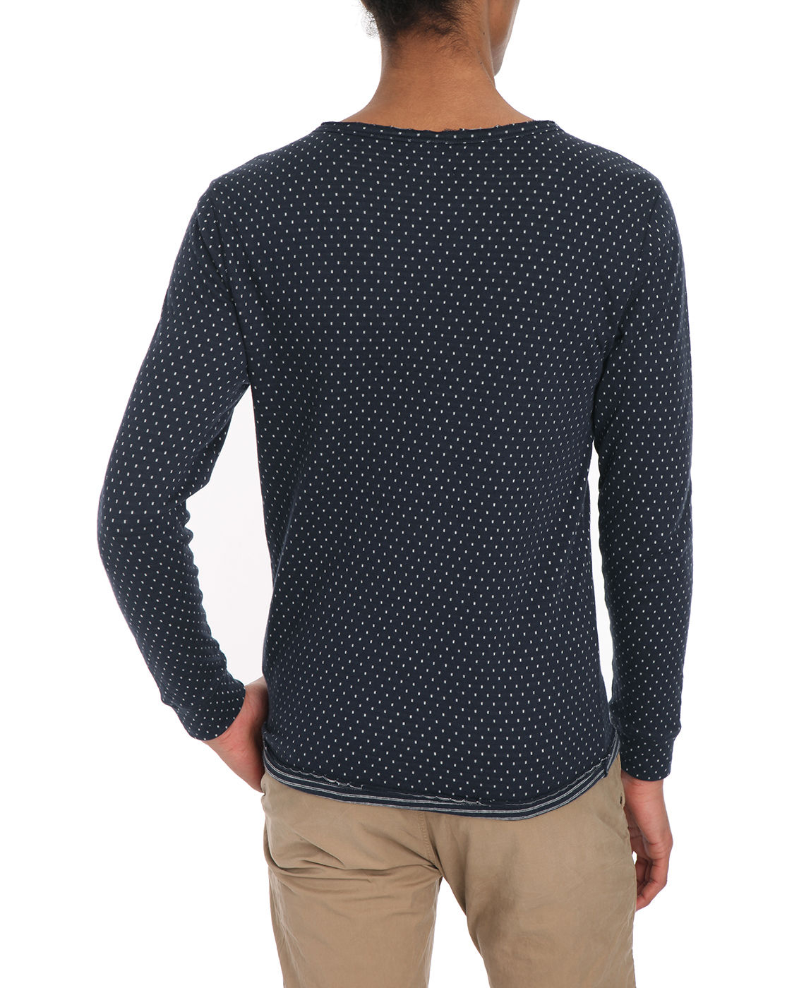 knowledge cotton apparel navy double layer white dots ls t shirt in blue for men navy lyst. Black Bedroom Furniture Sets. Home Design Ideas