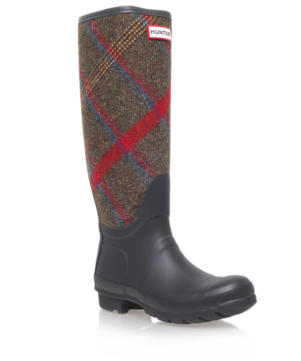 black original check wellington boots in blue for