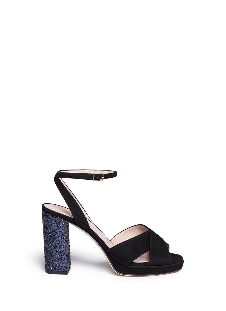 be1056ce0f0c Lyst - Kate Spade  honey  Glitter Block Heel Suede Sandals in Black