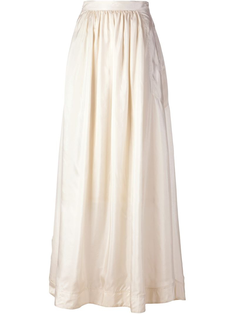 By malene birger Flared Maxi Skirt in Natural | Lyst