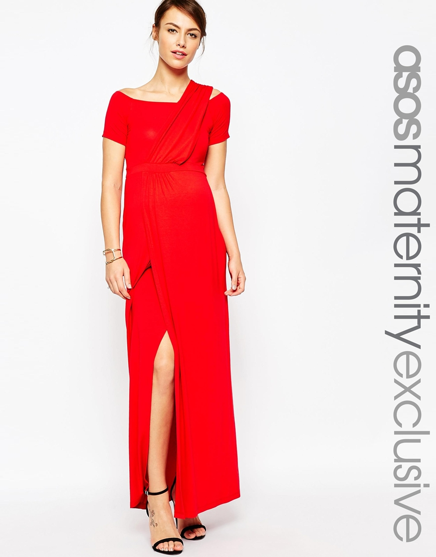 Asos bardot maxi dress with one shoulder in red lyst gallery ombrellifo Choice Image