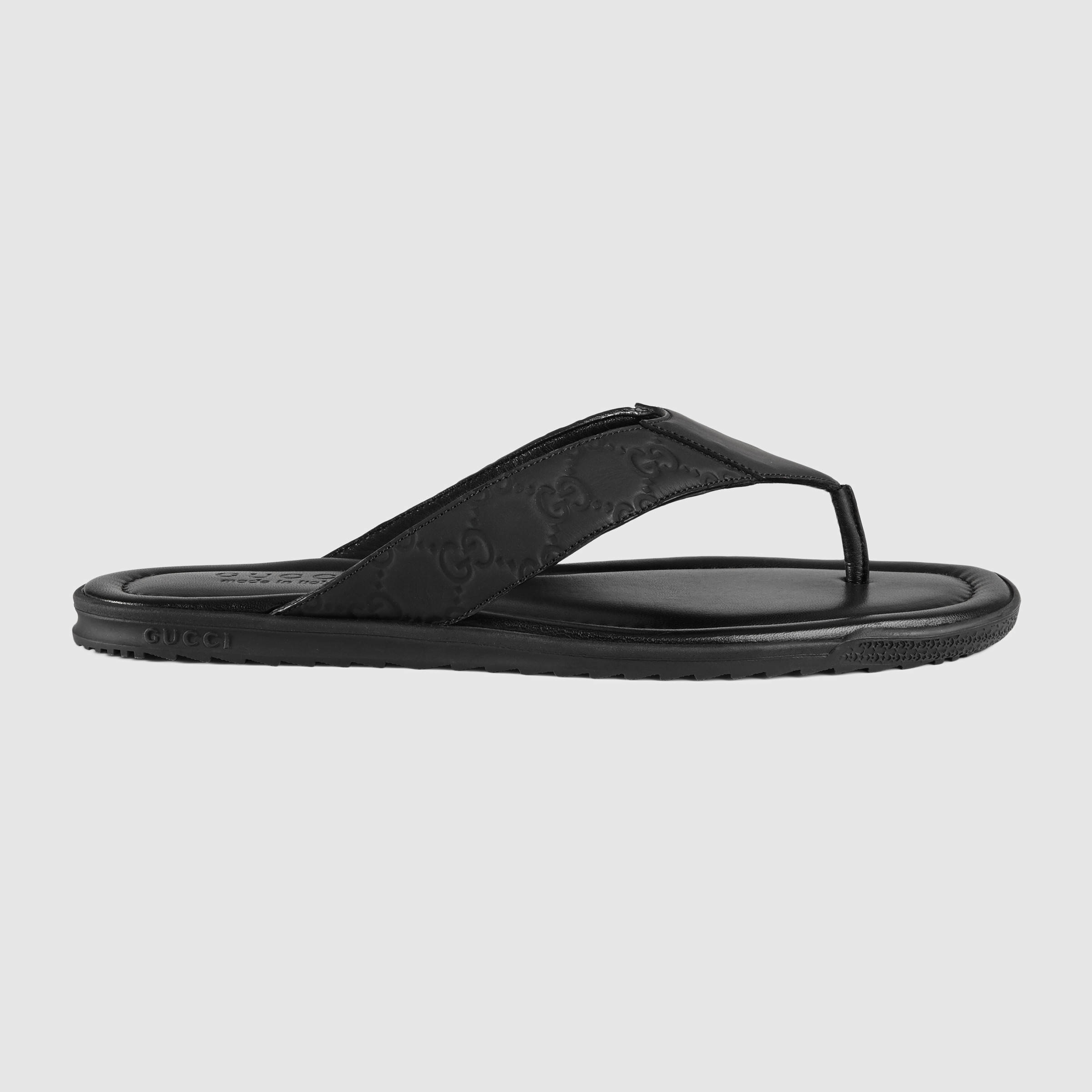 18482136105e Lyst - Gucci Rubberized Leather Thong Sandal in Black for Men