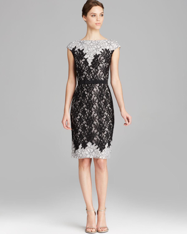 Tadashi Shoji Dress Cap Sleeve Belted Lace Sheath In