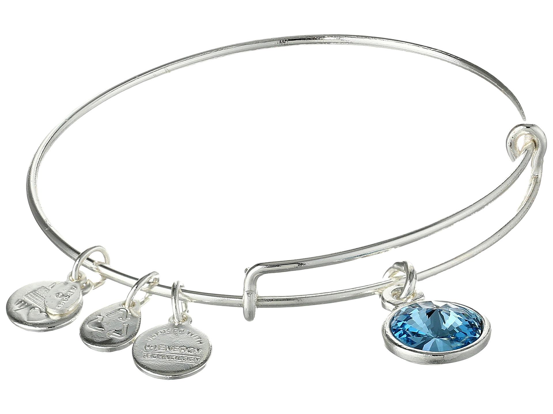 alex and ani march birthstone charm bangle in metallic lyst